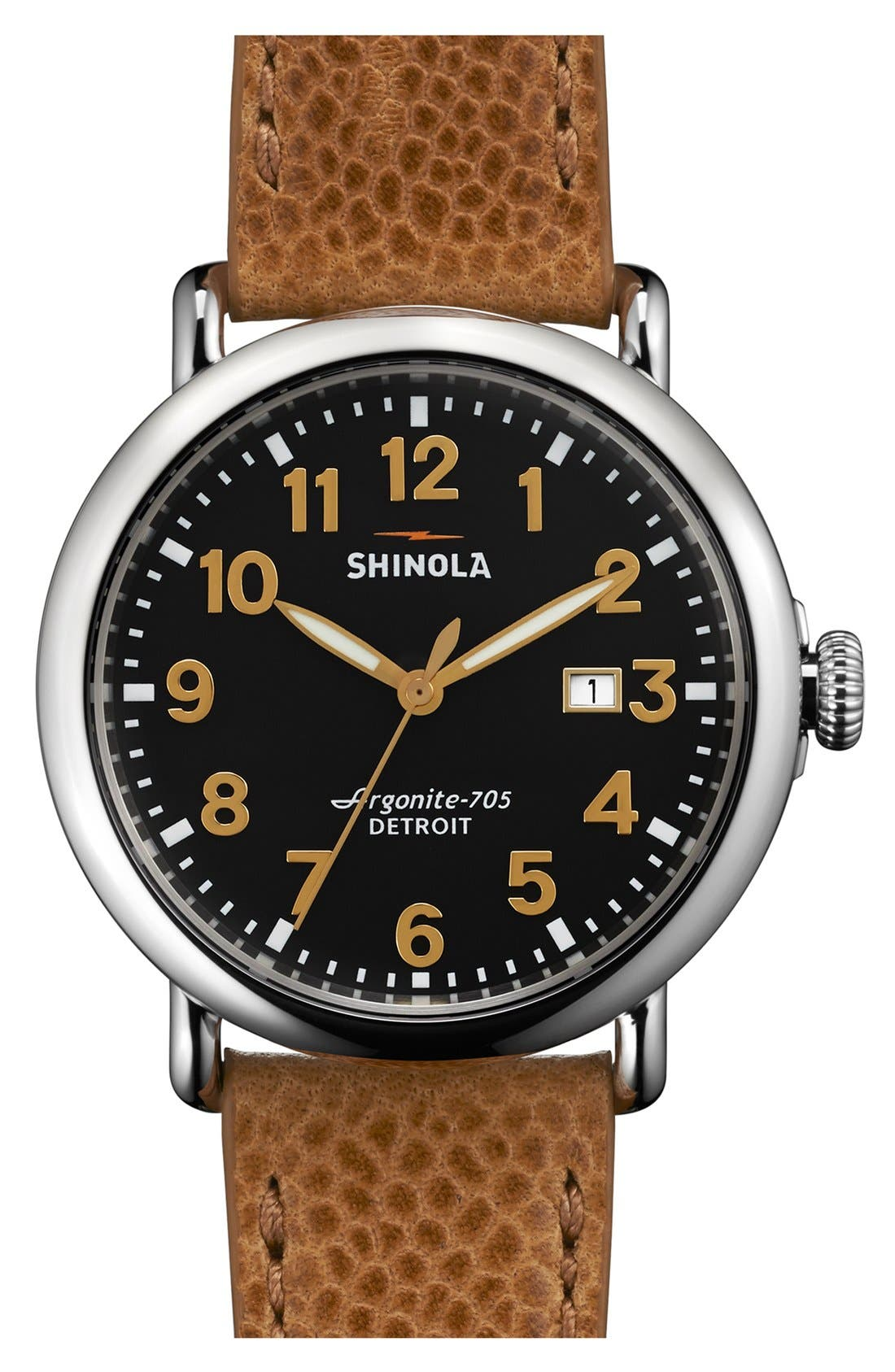 'Runwell' Leather Strap Watch, 41mm,                         Main,                         color, TAN/ BLACK