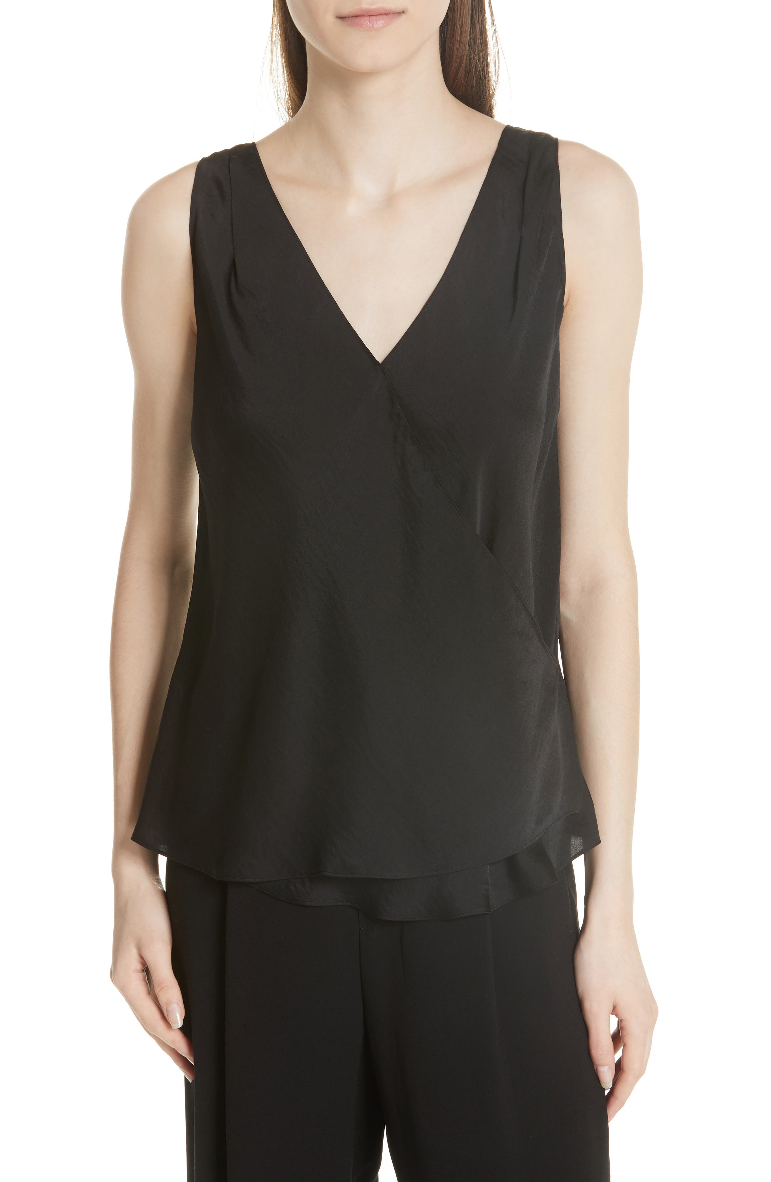 Wrap Hammered Satin Tank,                         Main,                         color, BLACK