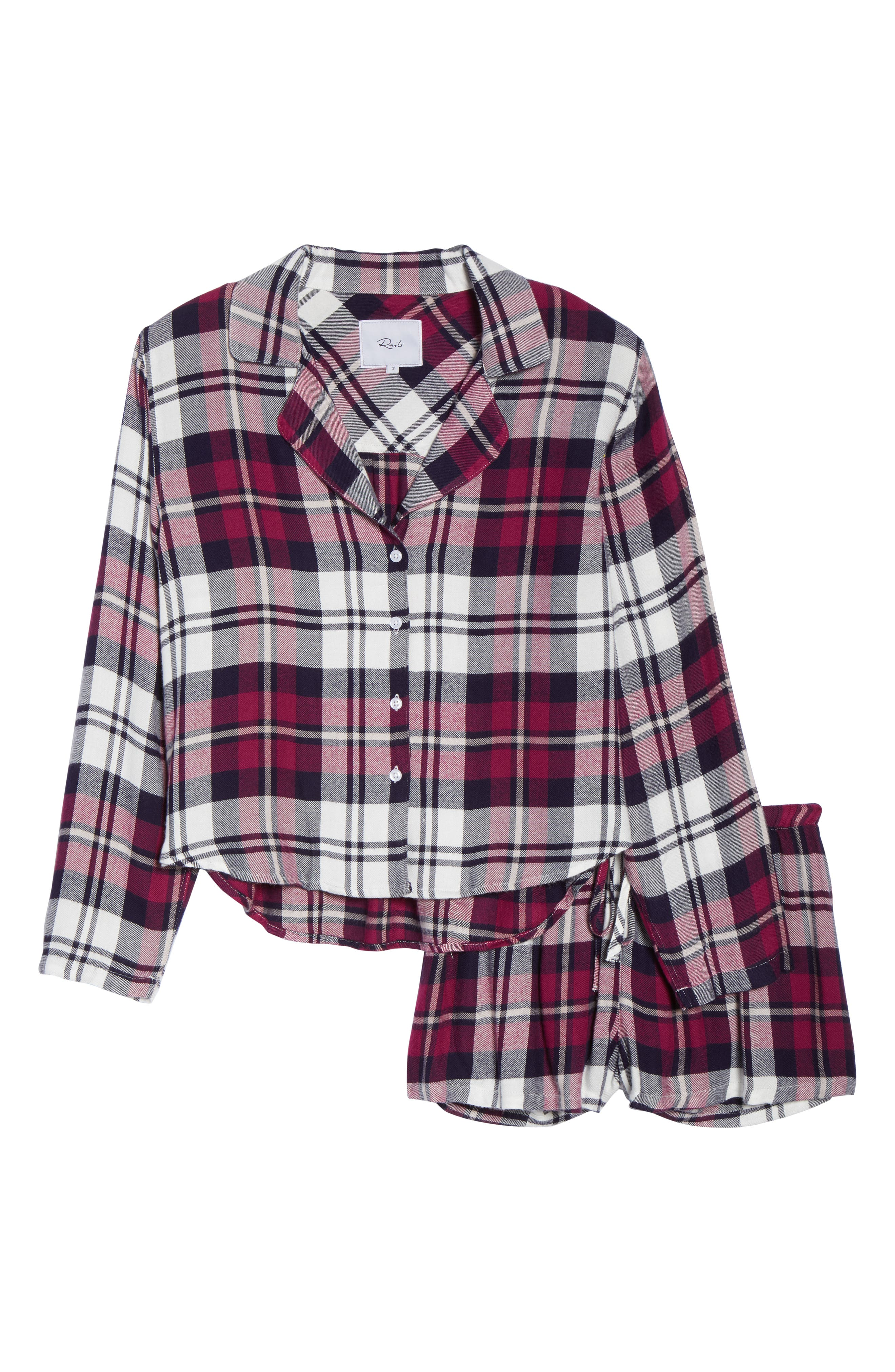 Plaid Short Pajamas,                             Alternate thumbnail 6, color,                             MULBERRY NAVY WHITE