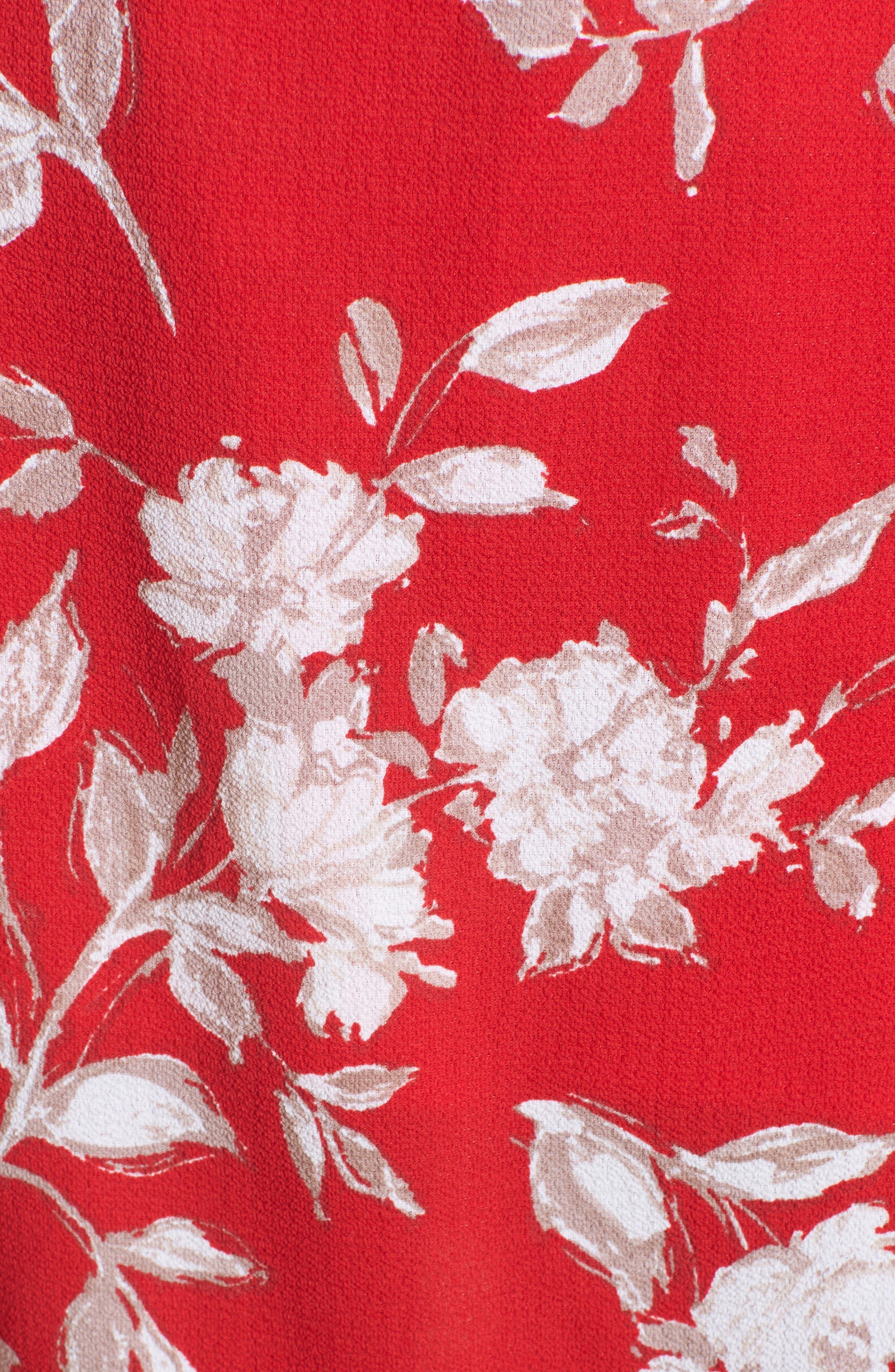 Floral Print Faux Wrap Midi Romper,                             Alternate thumbnail 6, color,                             600