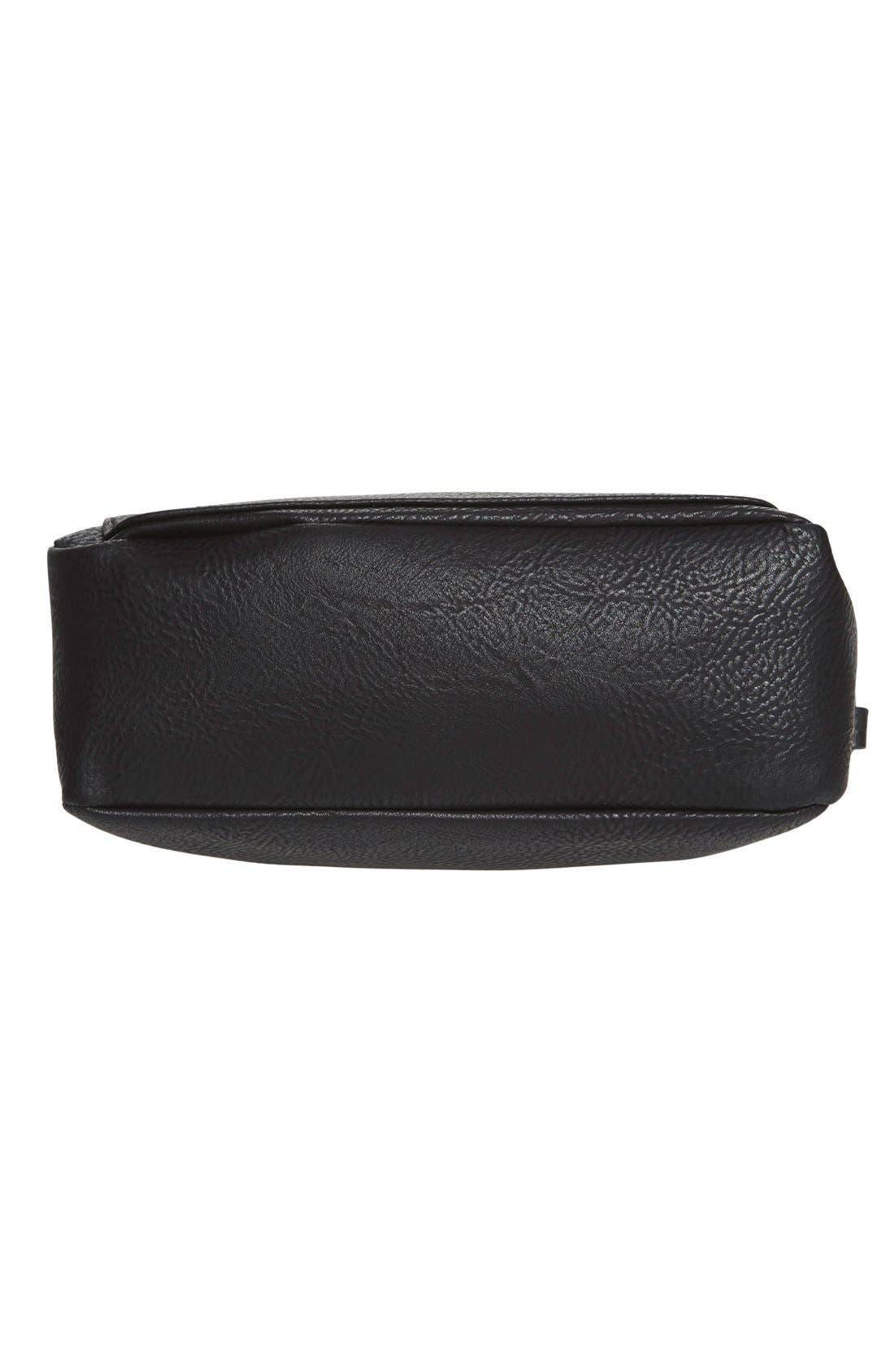 Zip Flap Faux Leather Crossbody Bag,                             Alternate thumbnail 3, color,                             001