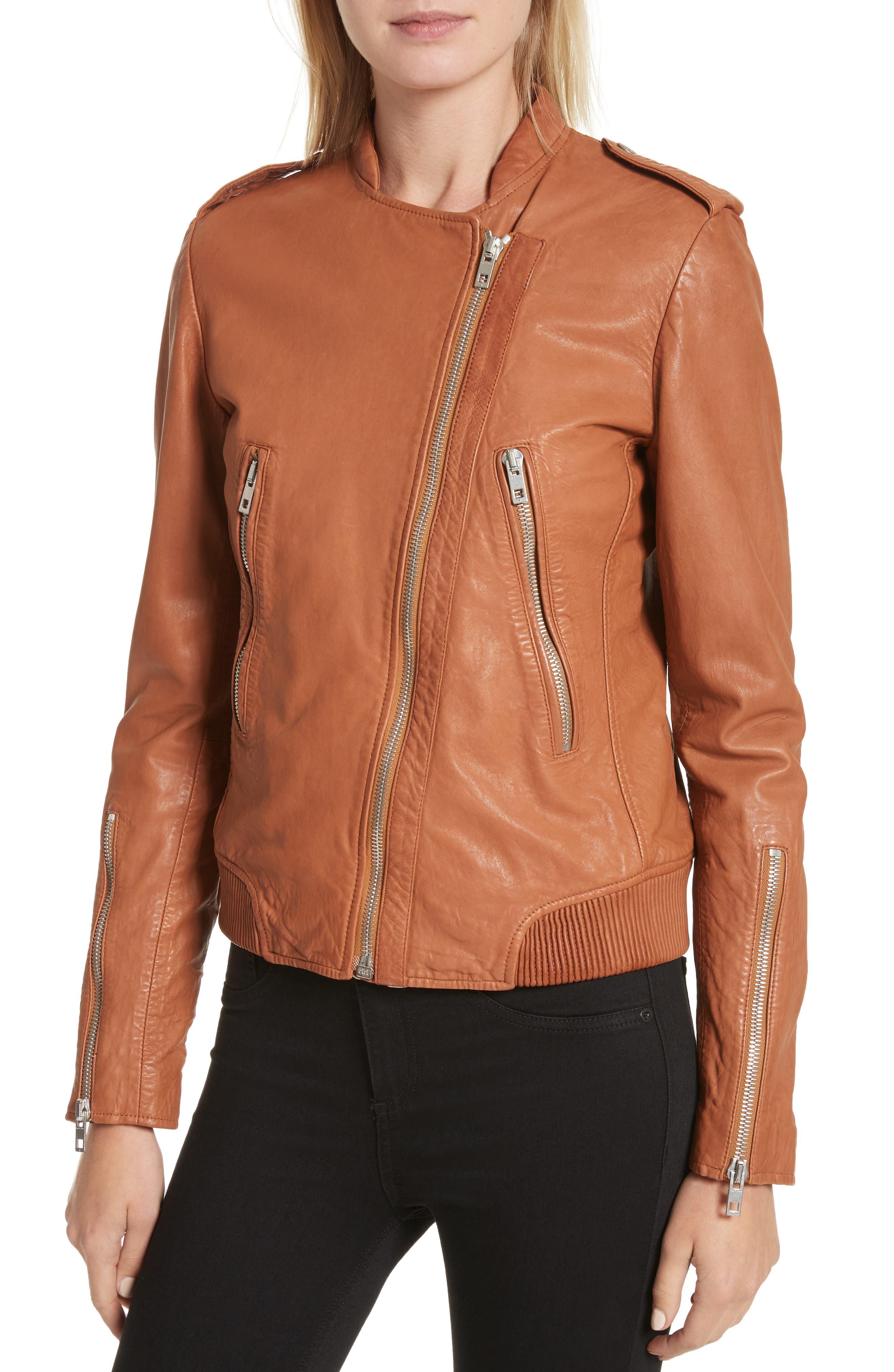 Lyon Leather Jacket,                             Alternate thumbnail 4, color,                             200