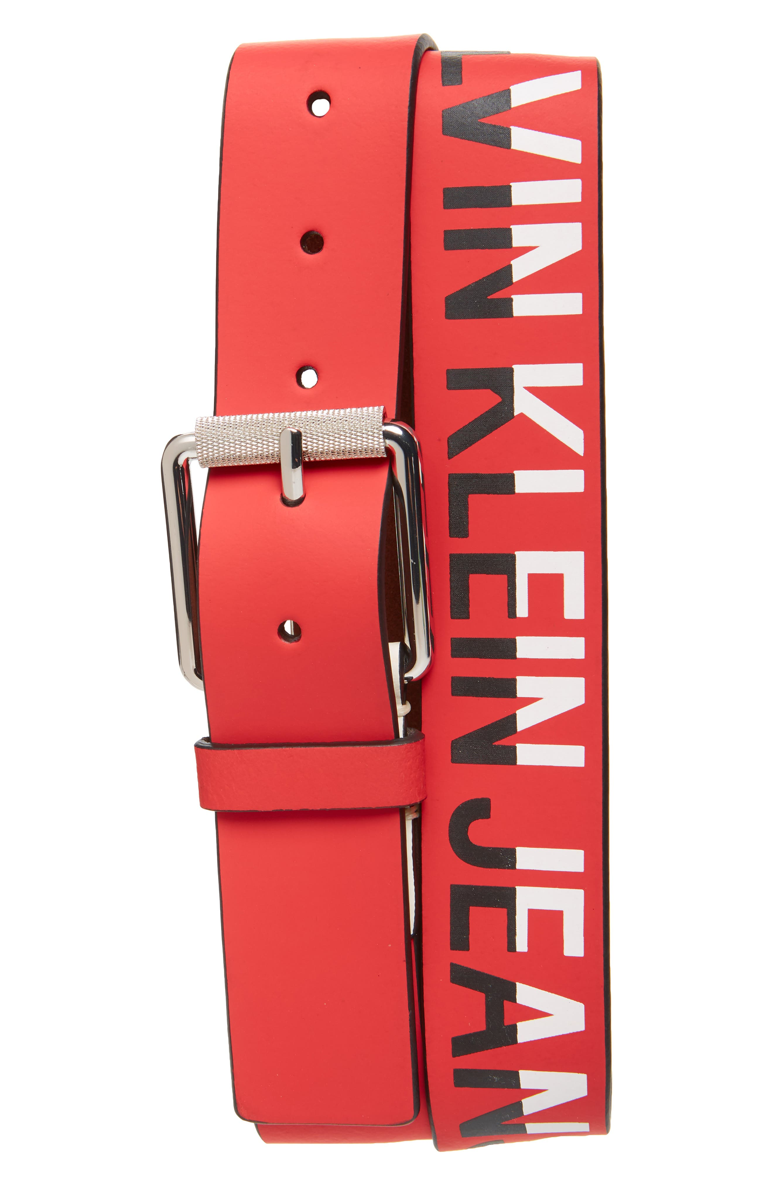 Logo Leather Belt, Main, color, TOMATO