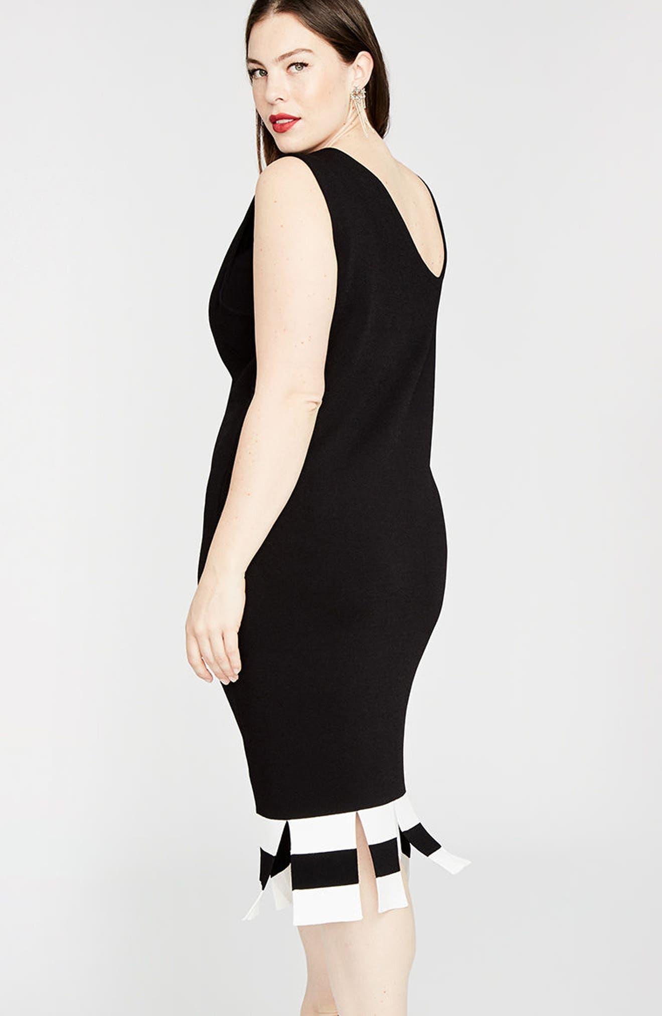 Stripe Carwash Hem Dress,                             Alternate thumbnail 3, color,                             001