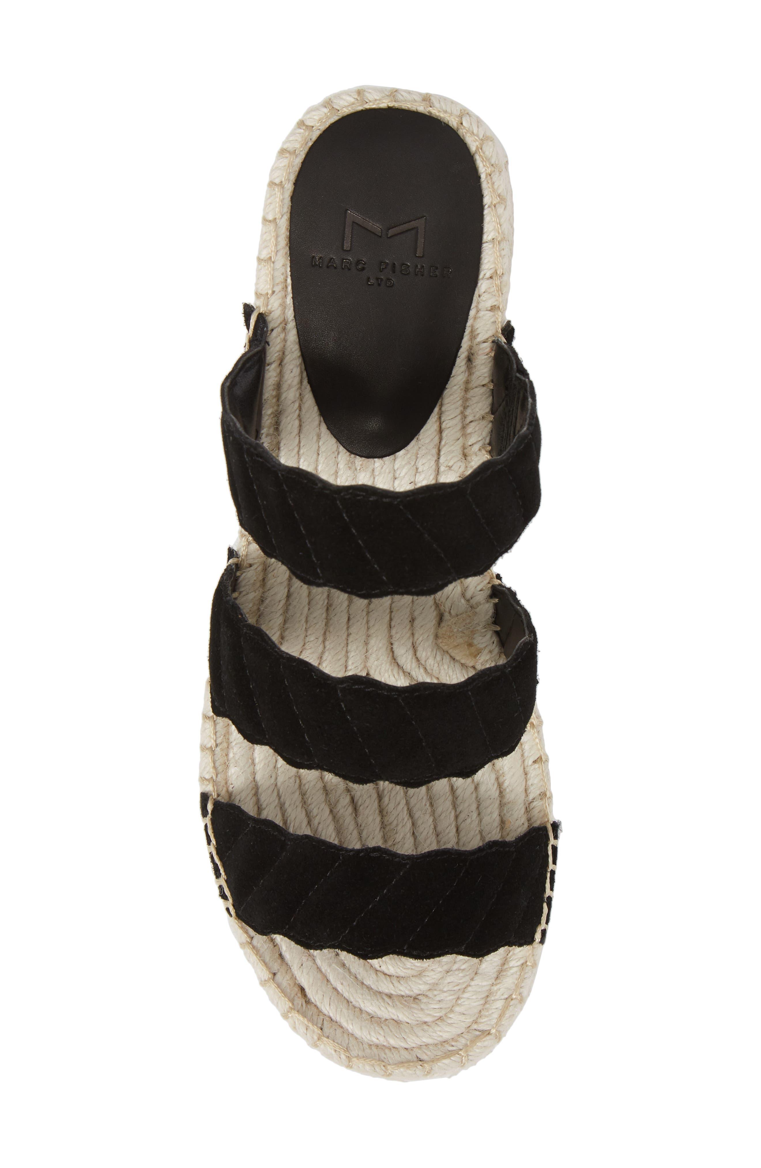 Rosie Espadrille Platform Sandal,                             Alternate thumbnail 5, color,                             BLACK SUEDE