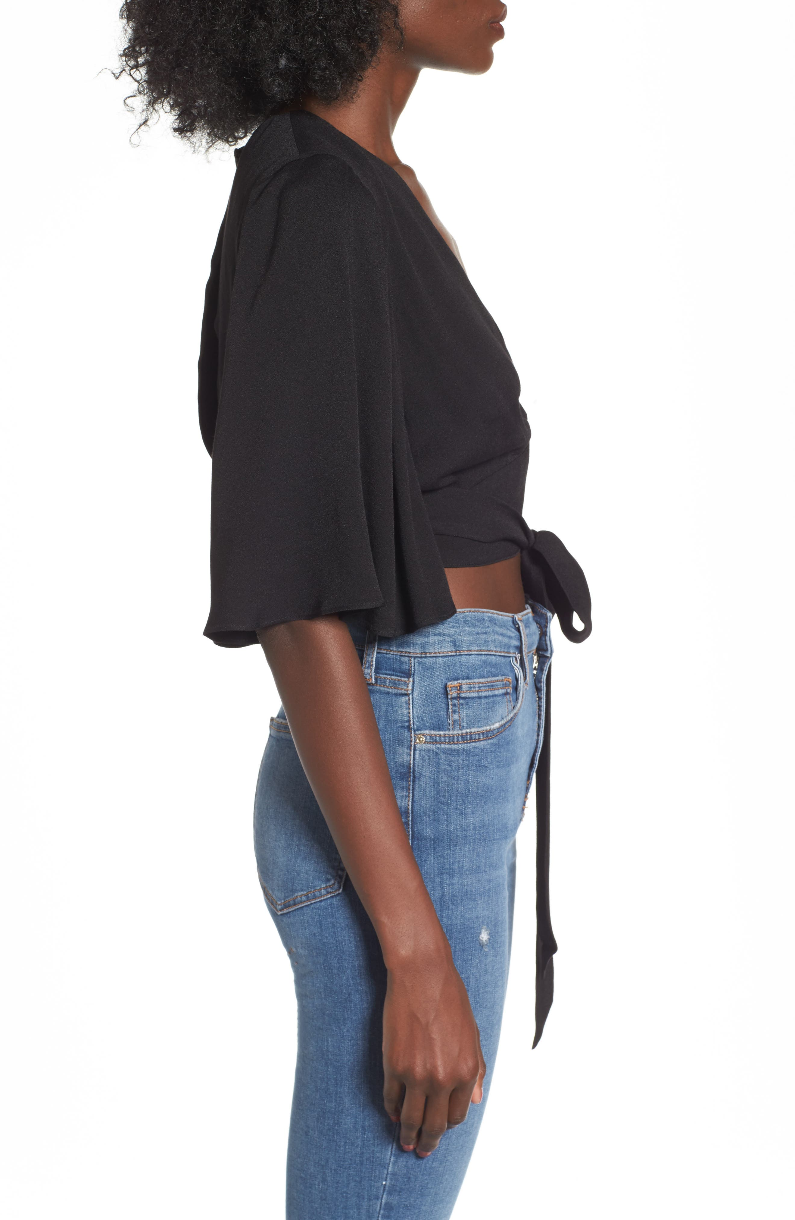 Willow Wrap Top,                             Alternate thumbnail 3, color,                             001