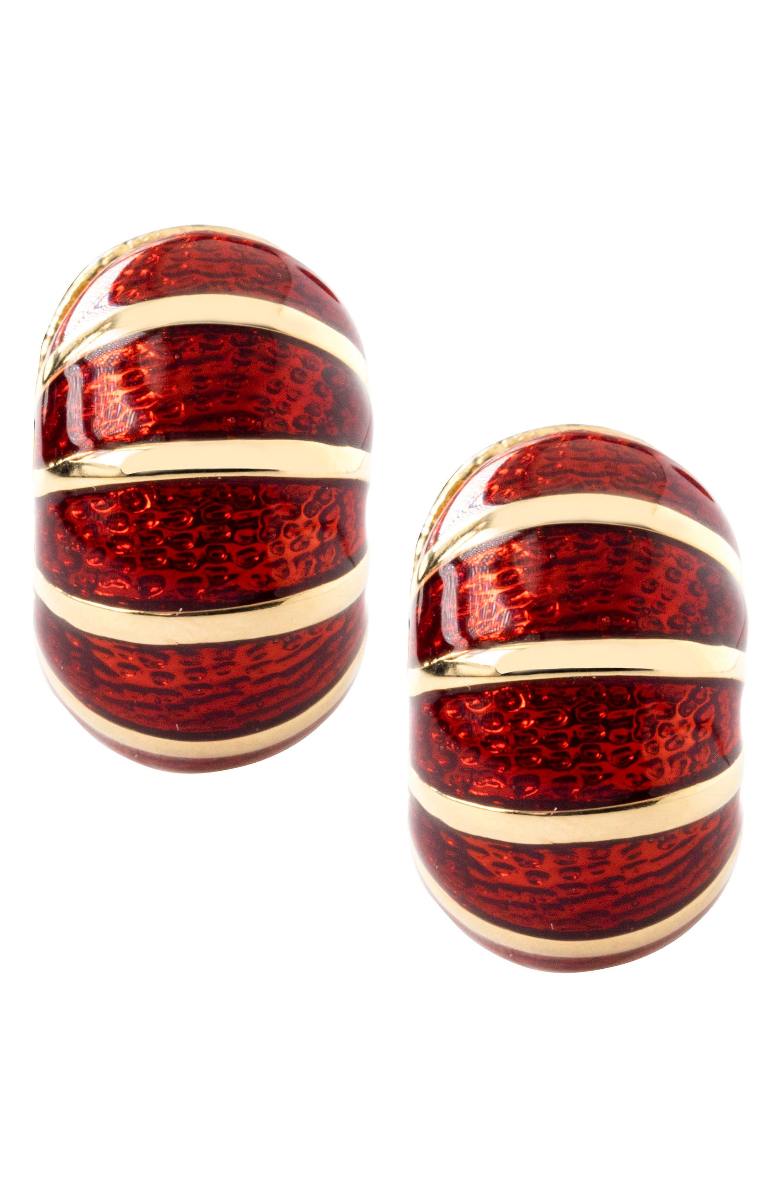 Black & Red Reversible Earrings,                             Alternate thumbnail 3, color,                             GARNET/ BLACK