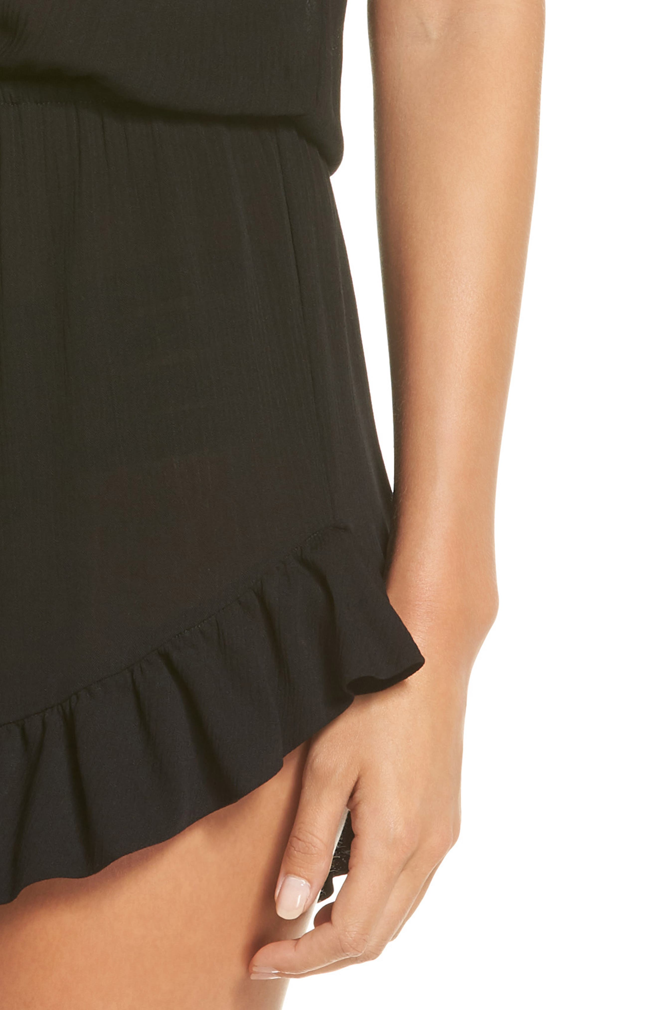 Ruffle Sleeve Cover-Up Romper,                             Alternate thumbnail 4, color,                             BLACK