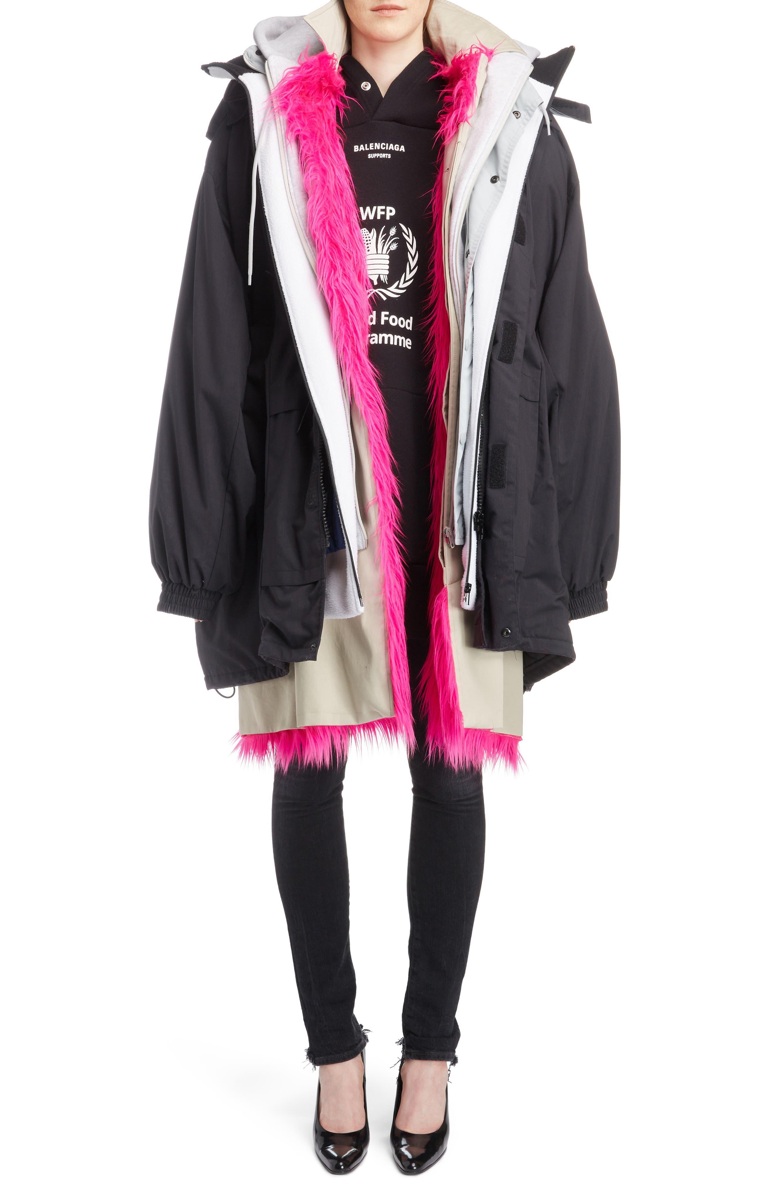 Layered Coat,                             Alternate thumbnail 6, color,                             1000-BLACK