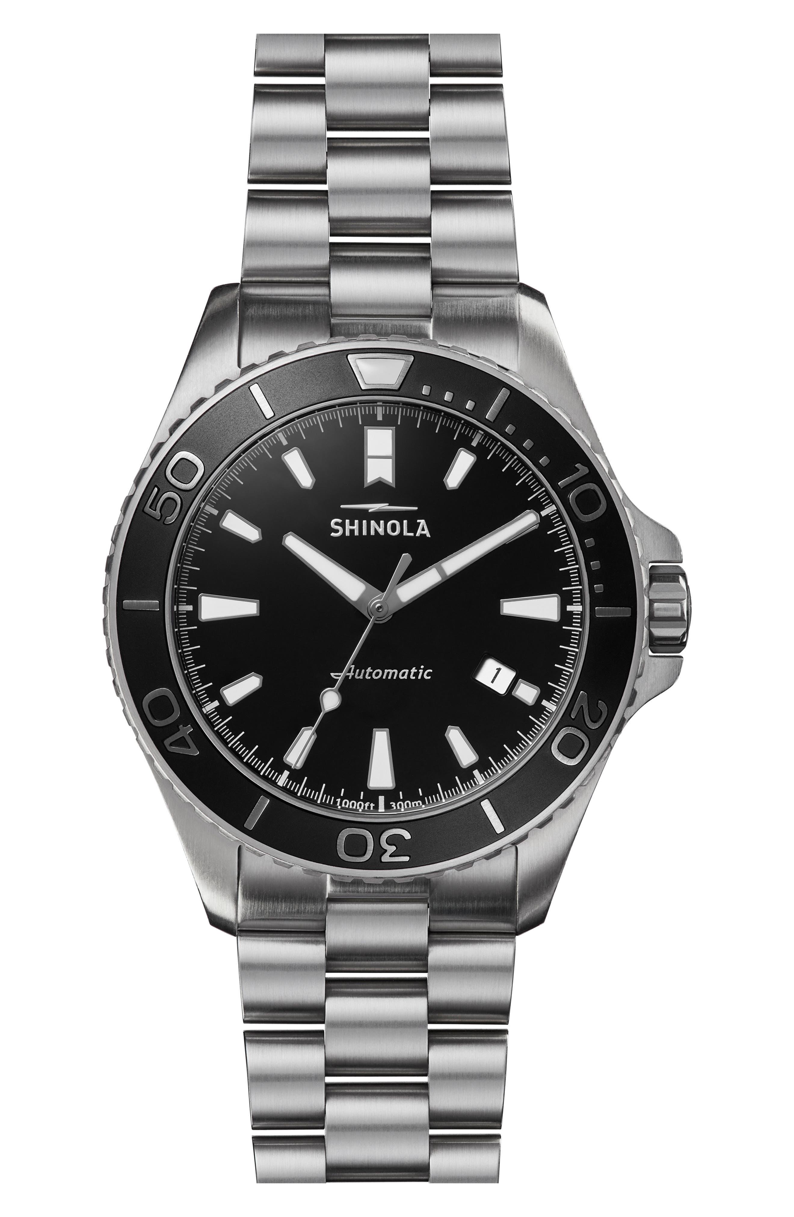 Monster Automatic Bracelet Watch, 43mm,                         Main,                         color, SILVER/ BLACK