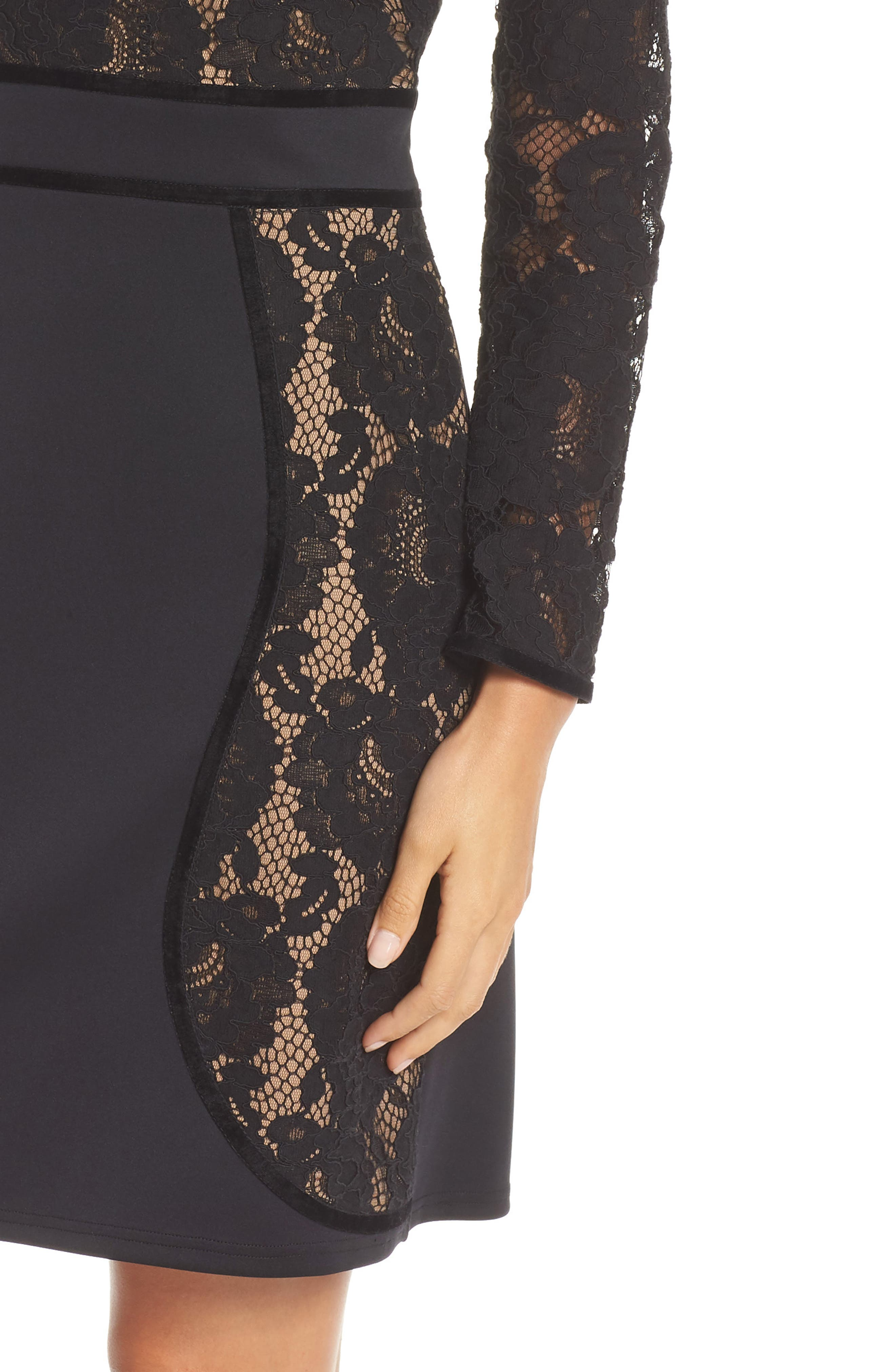 Embroidered Lace Dress,                             Alternate thumbnail 4, color,                             BLACK/ NUDE