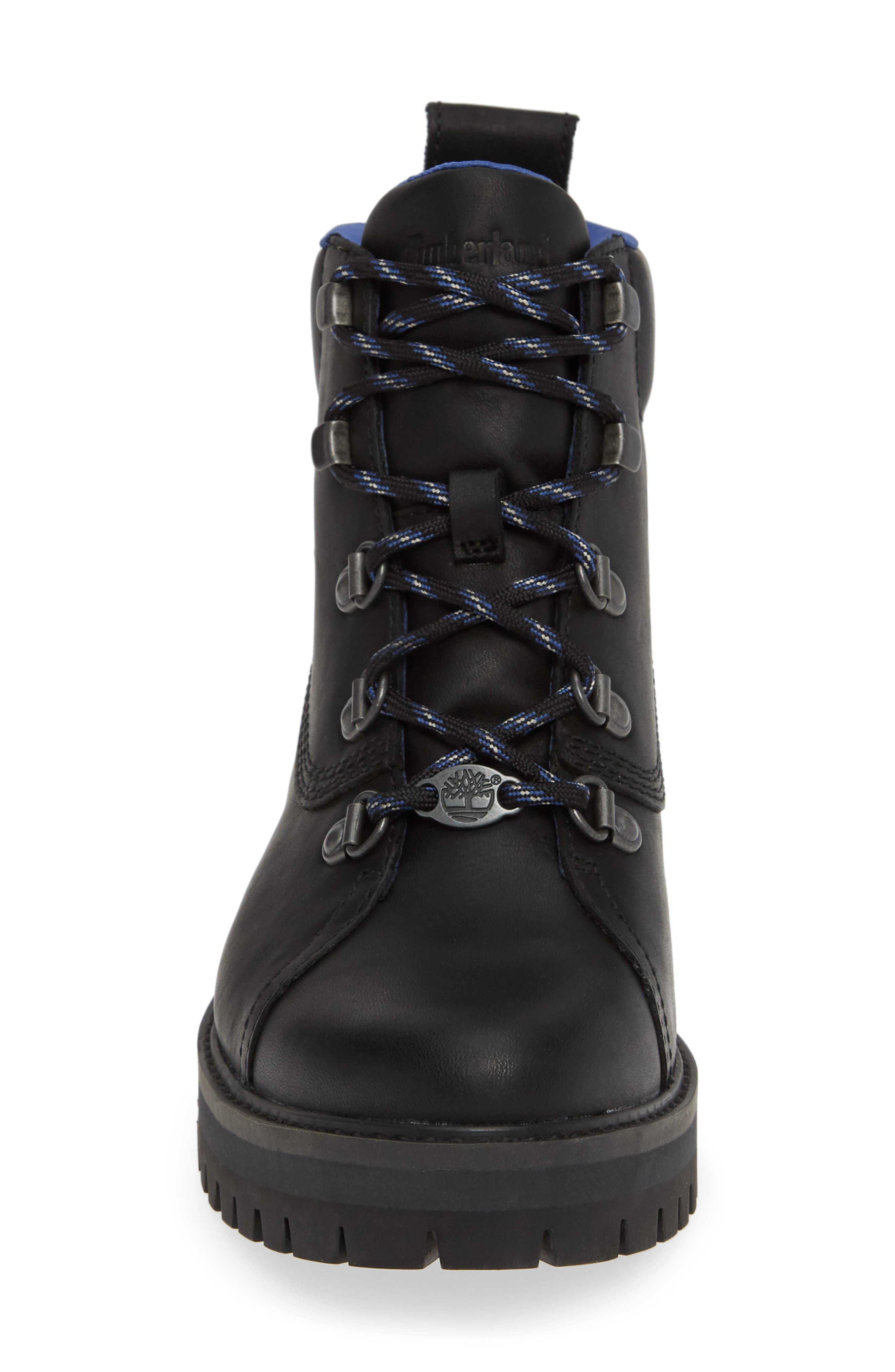 TIMBERLAND,                             Courmayeur Valley Waterproof Hiking Boot,                             Alternate thumbnail 4, color,                             BLACK NUBUCK BLACK OUT LEATHER