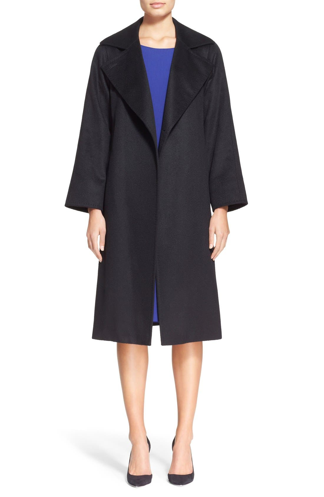 'Manuela' Camel Hair Coat, Main, color, BLACK