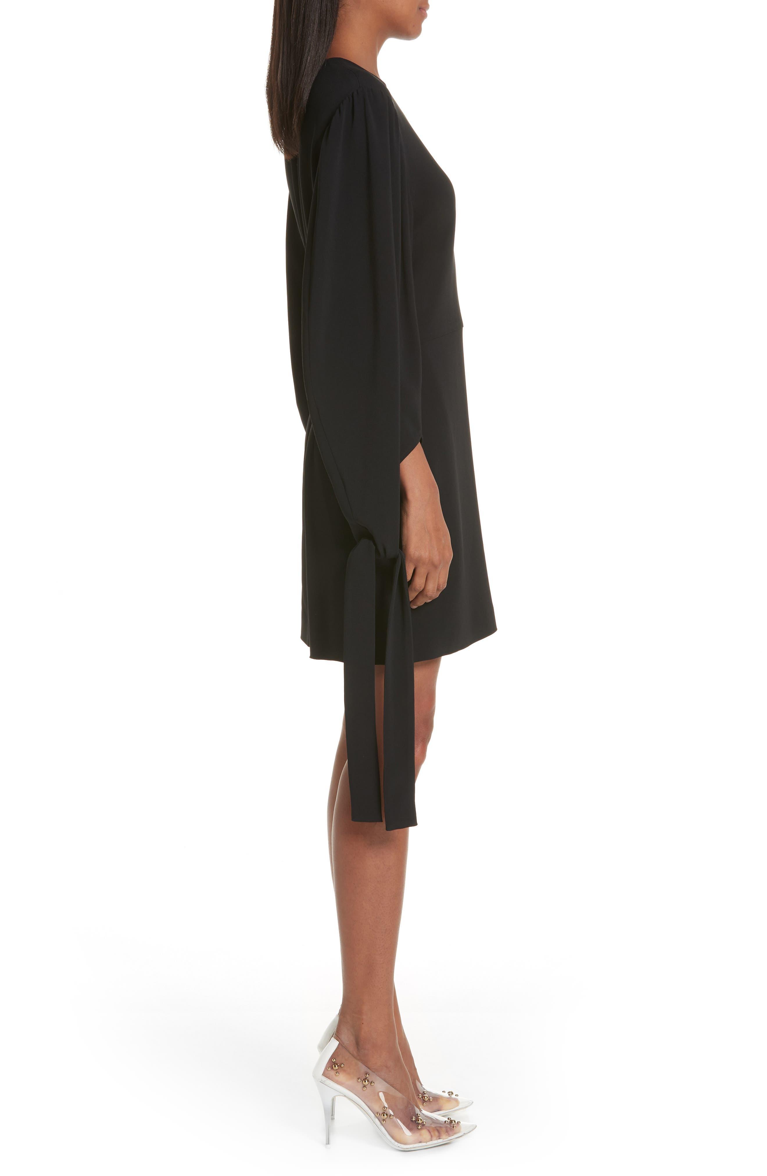 Tie Cuff Stretch Cady Dress,                             Alternate thumbnail 3, color,                             BLACK