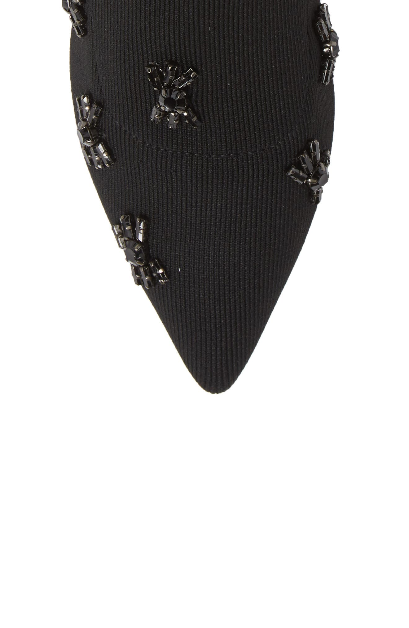 Betti Embellished Sock Bootie,                             Alternate thumbnail 5, color,                             BLACK KNIT FABRIC