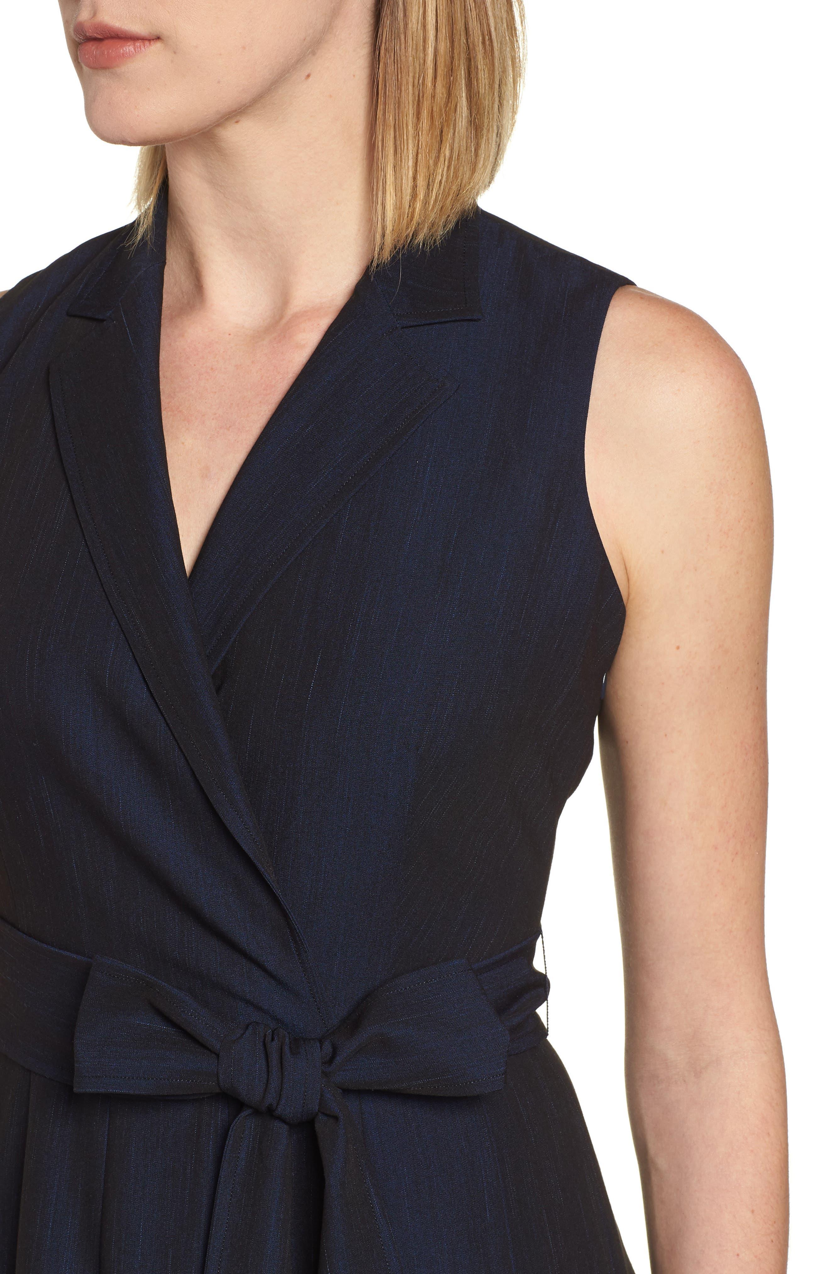 Notch Collar Stretch Denim Dress,                             Alternate thumbnail 8, color,