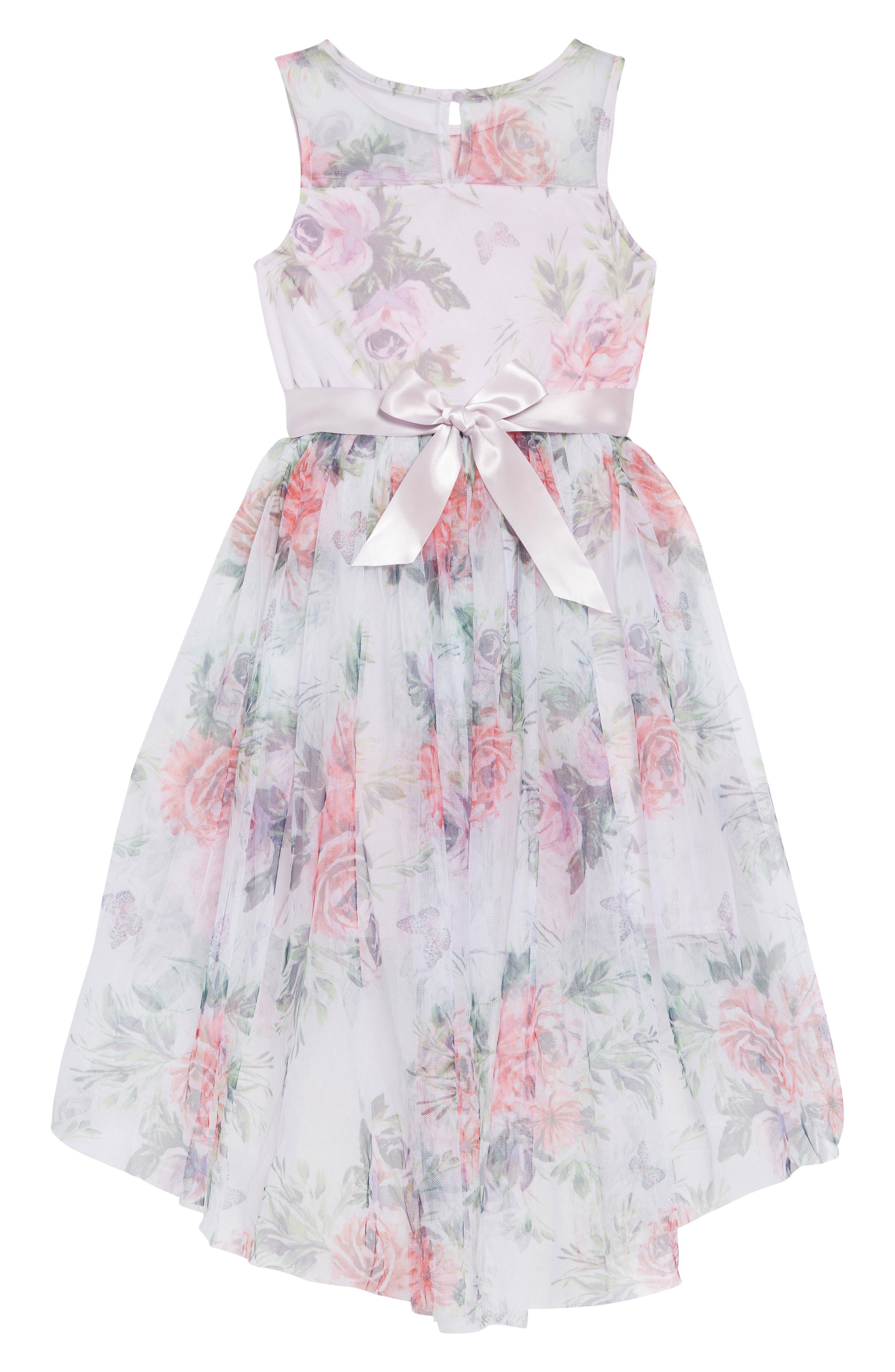 ZUNIE,                             Floral Print Dress,                             Alternate thumbnail 2, color,                             LAVENDER FLORAL