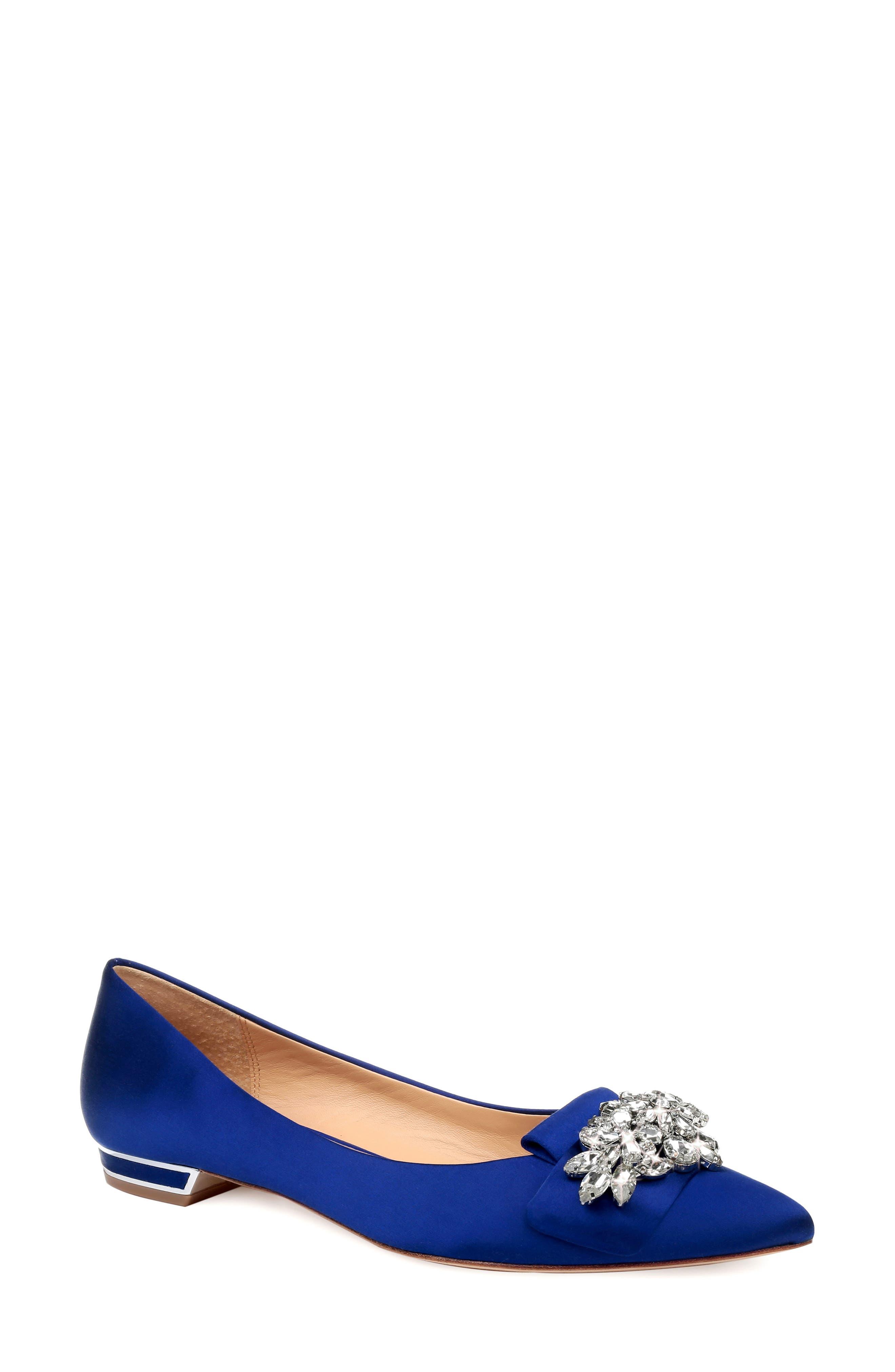 Badgley Mischka Valeria Crystal Embellished Flat, Blue