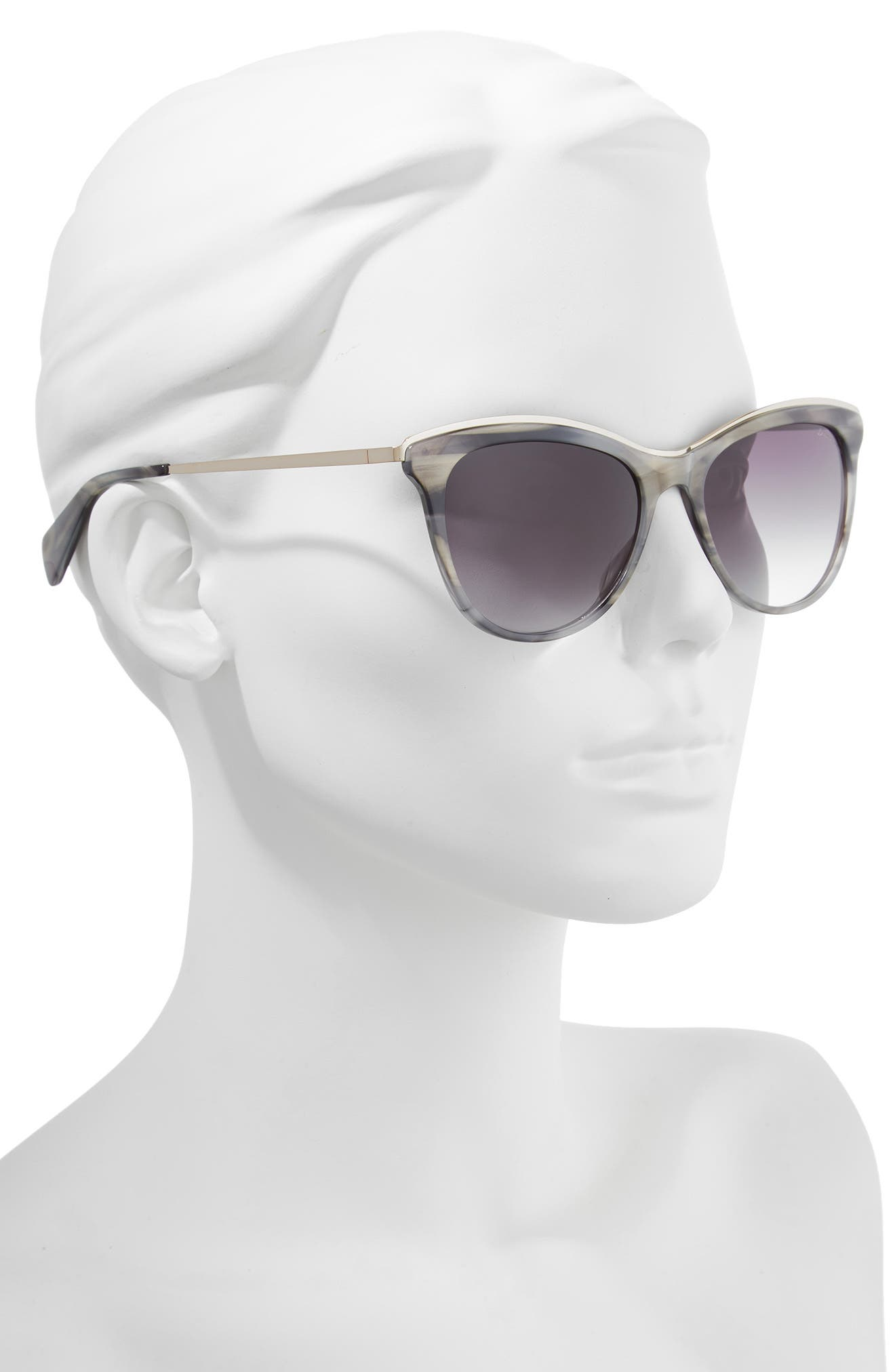 56mm Cat Eye Sunglasses,                             Alternate thumbnail 2, color,                             GREY