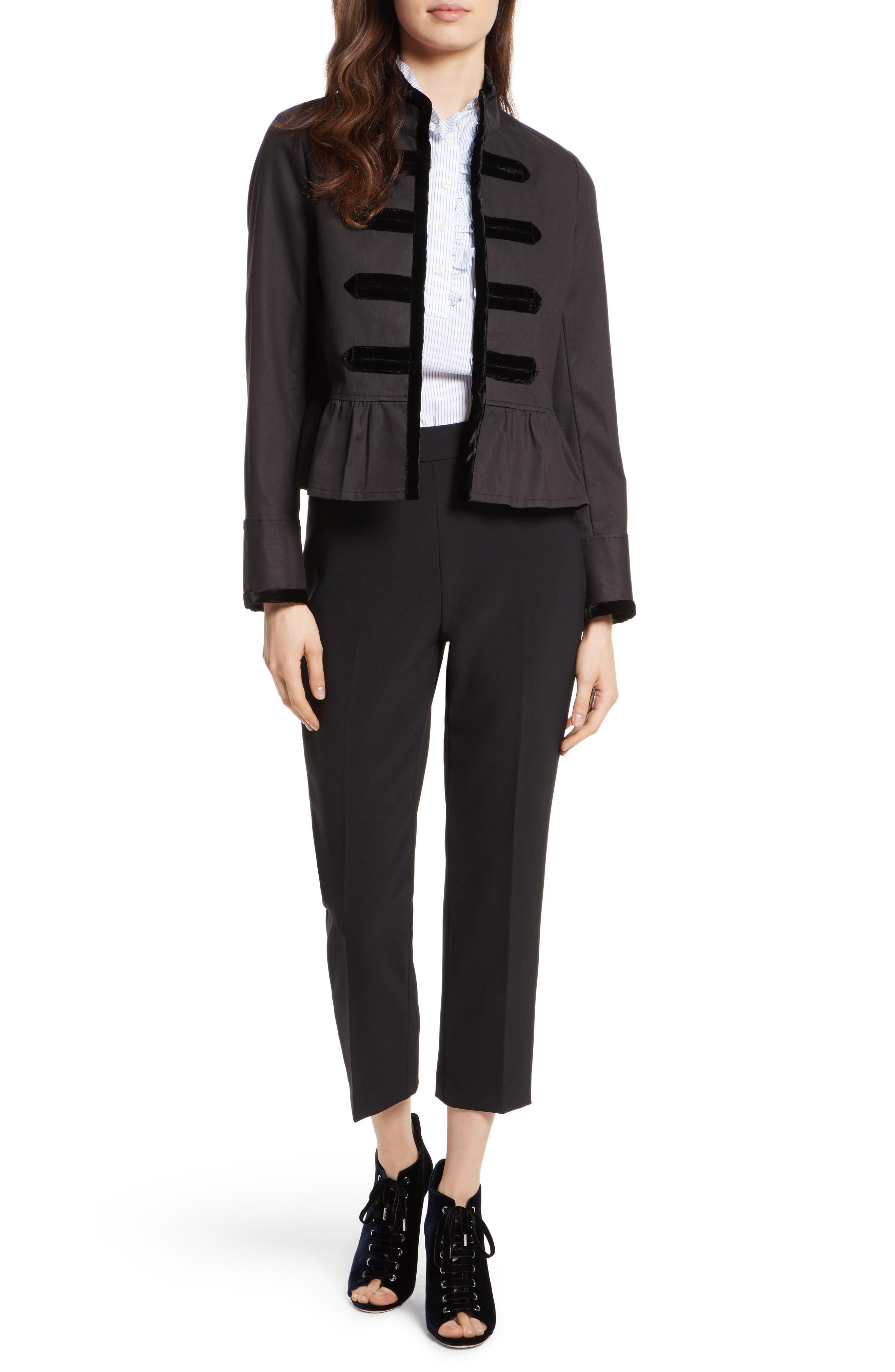 velvet trim military jacket,                             Alternate thumbnail 7, color,                             001