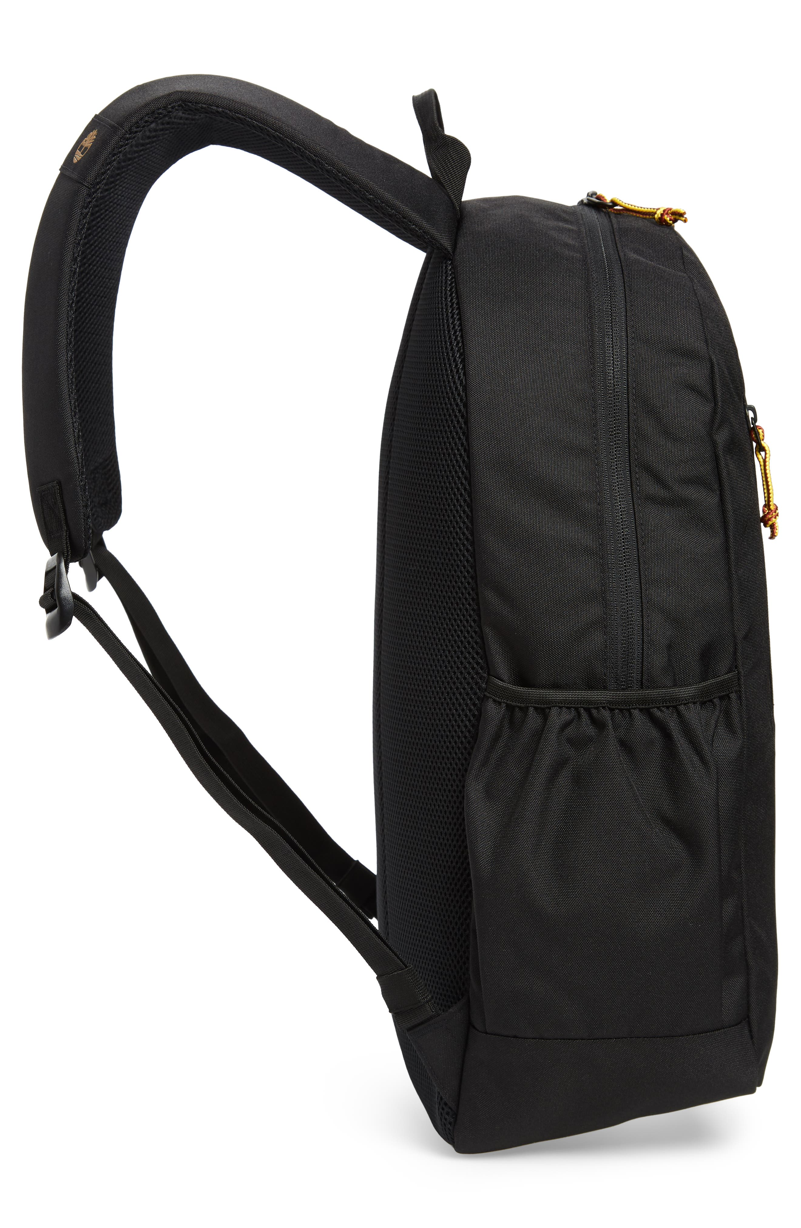 Linear Logo Water Resistant Backpack,                             Alternate thumbnail 5, color,                             BLACK W/ WHEAT LOGO