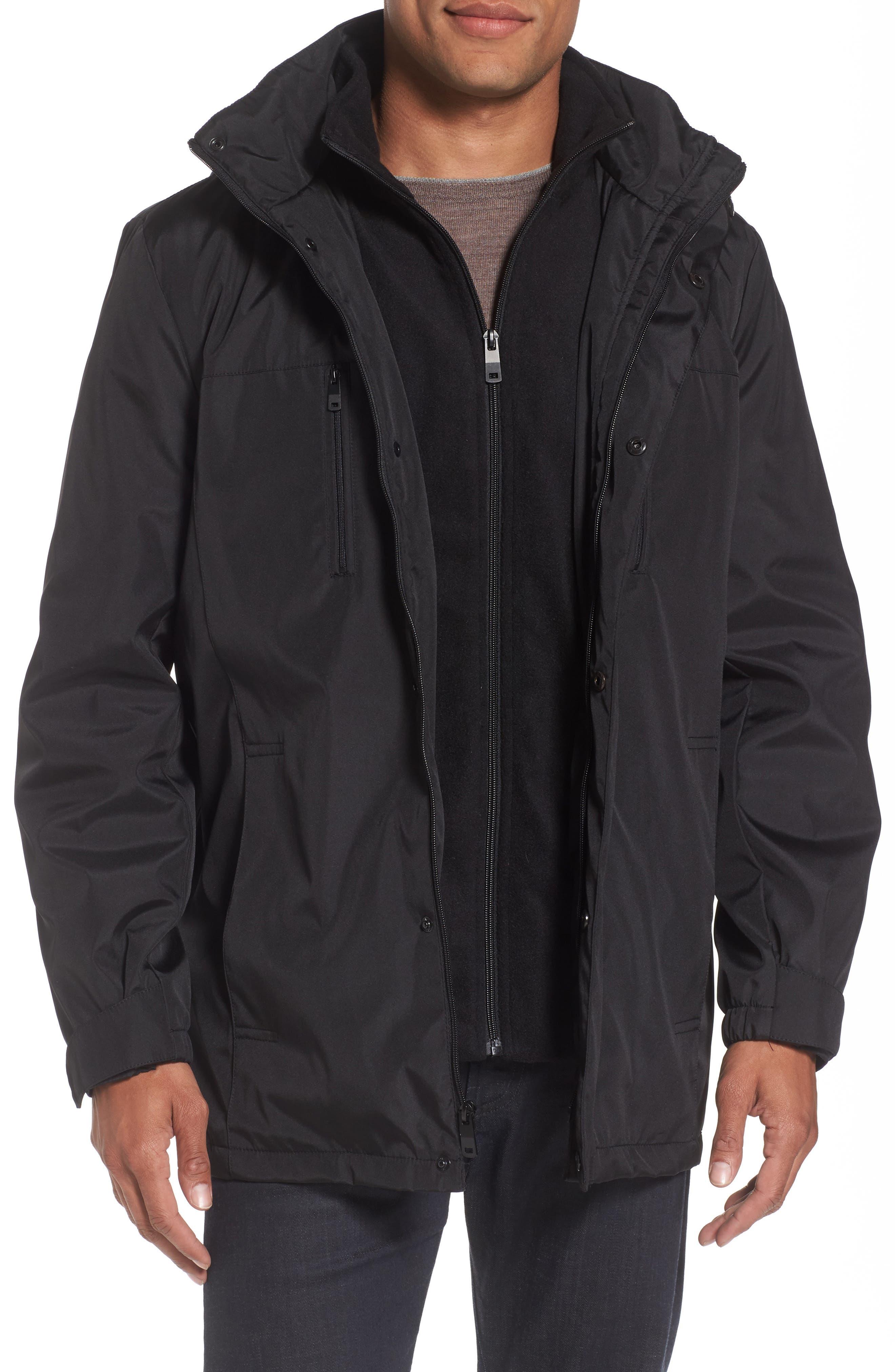 Hooded Jacket with Inset Fleece Bib,                             Main thumbnail 1, color,                             001