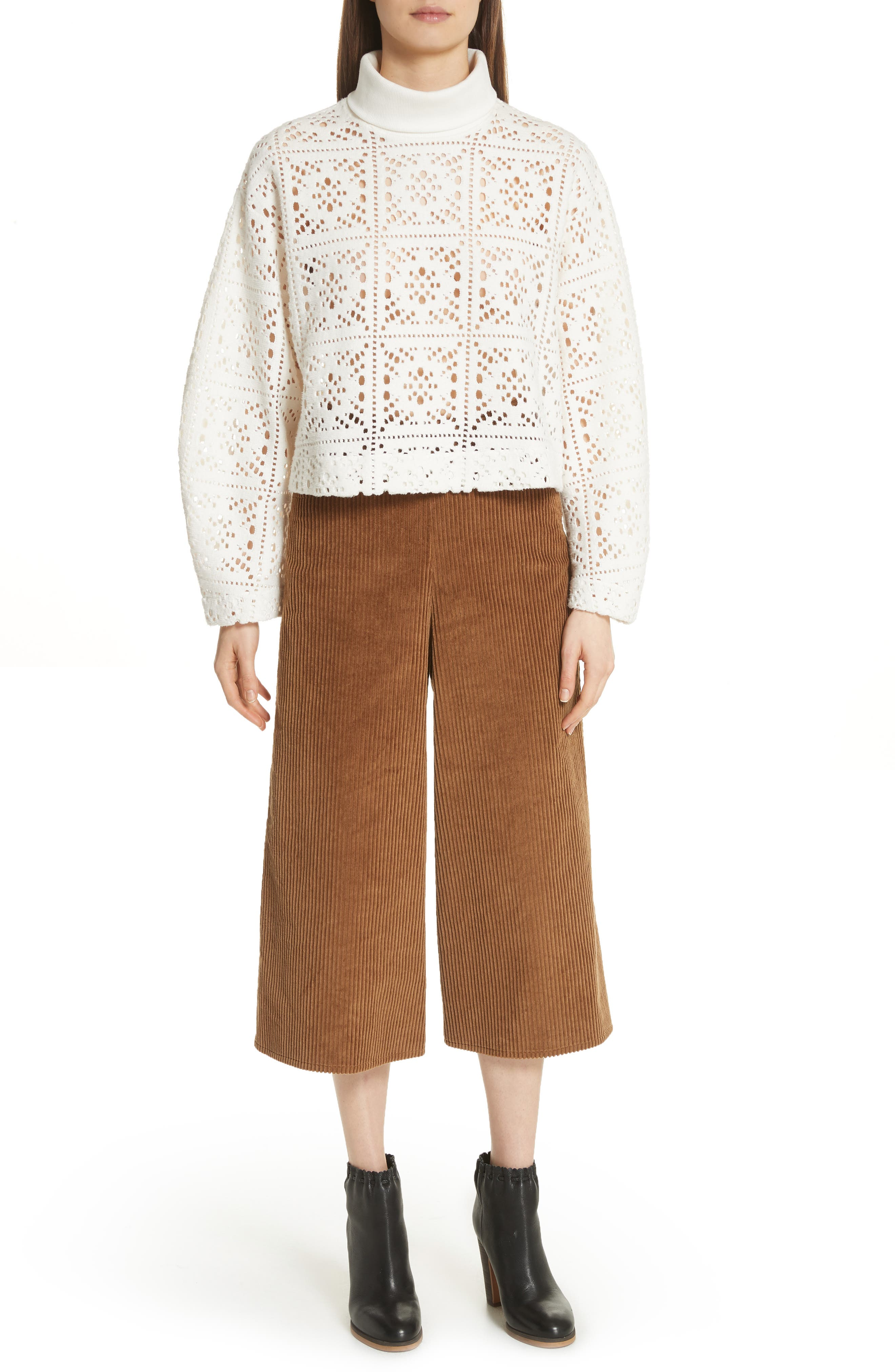 Lace Turtleneck Sweater,                             Alternate thumbnail 7, color,                             101