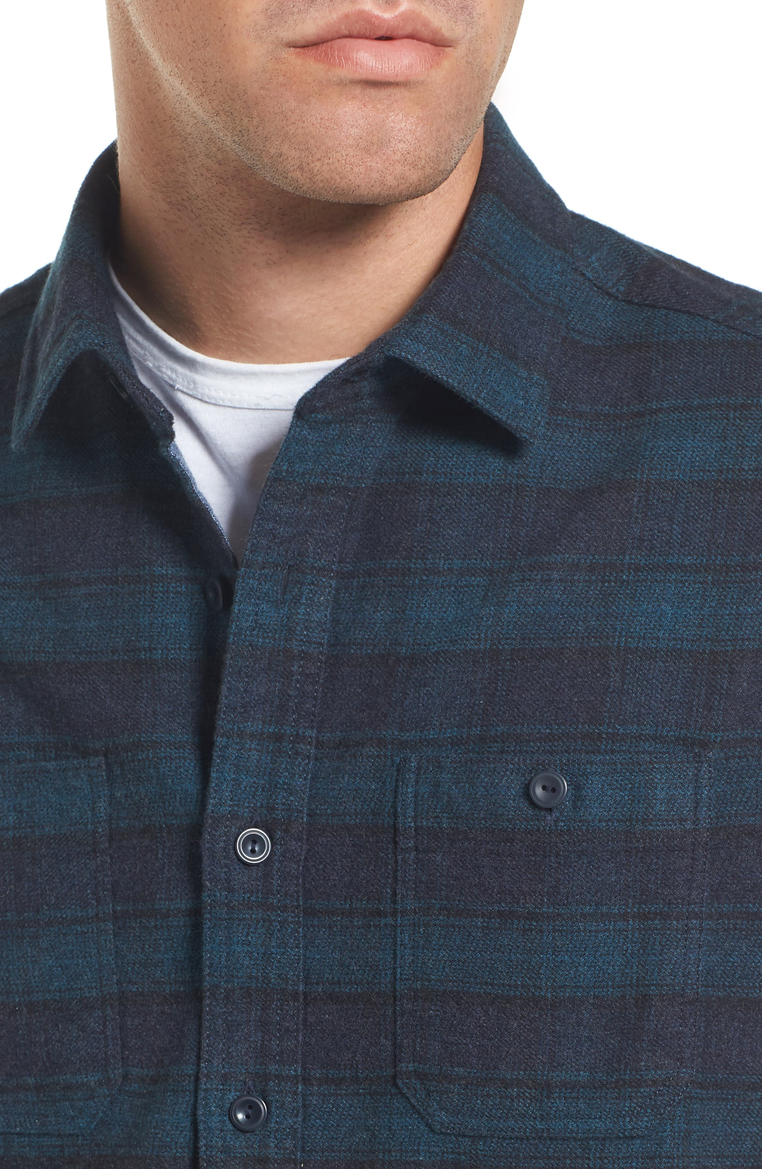 Cortland Heritage Modern Fit Flannel Sport Shirt,                             Alternate thumbnail 4, color,                             341