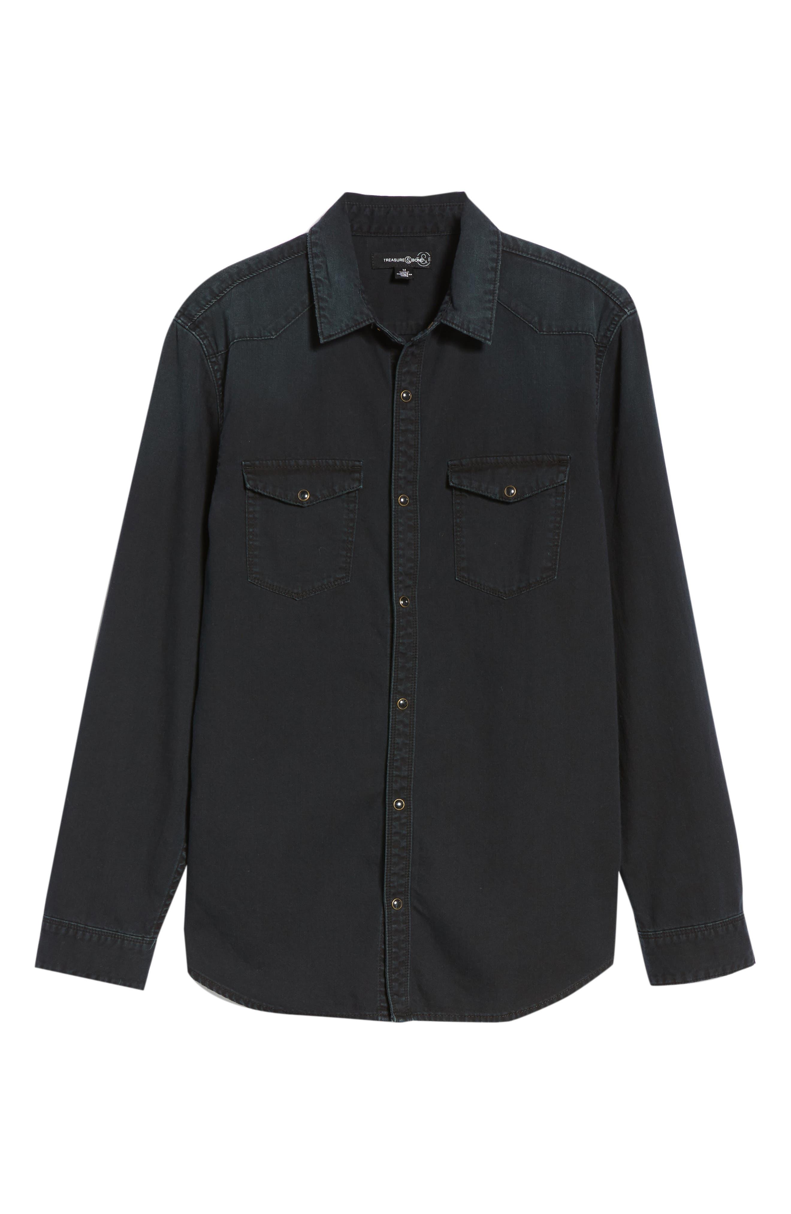 TREASURE & BOND,                             Western Denim Sport Shirt,                             Alternate thumbnail 6, color,                             002