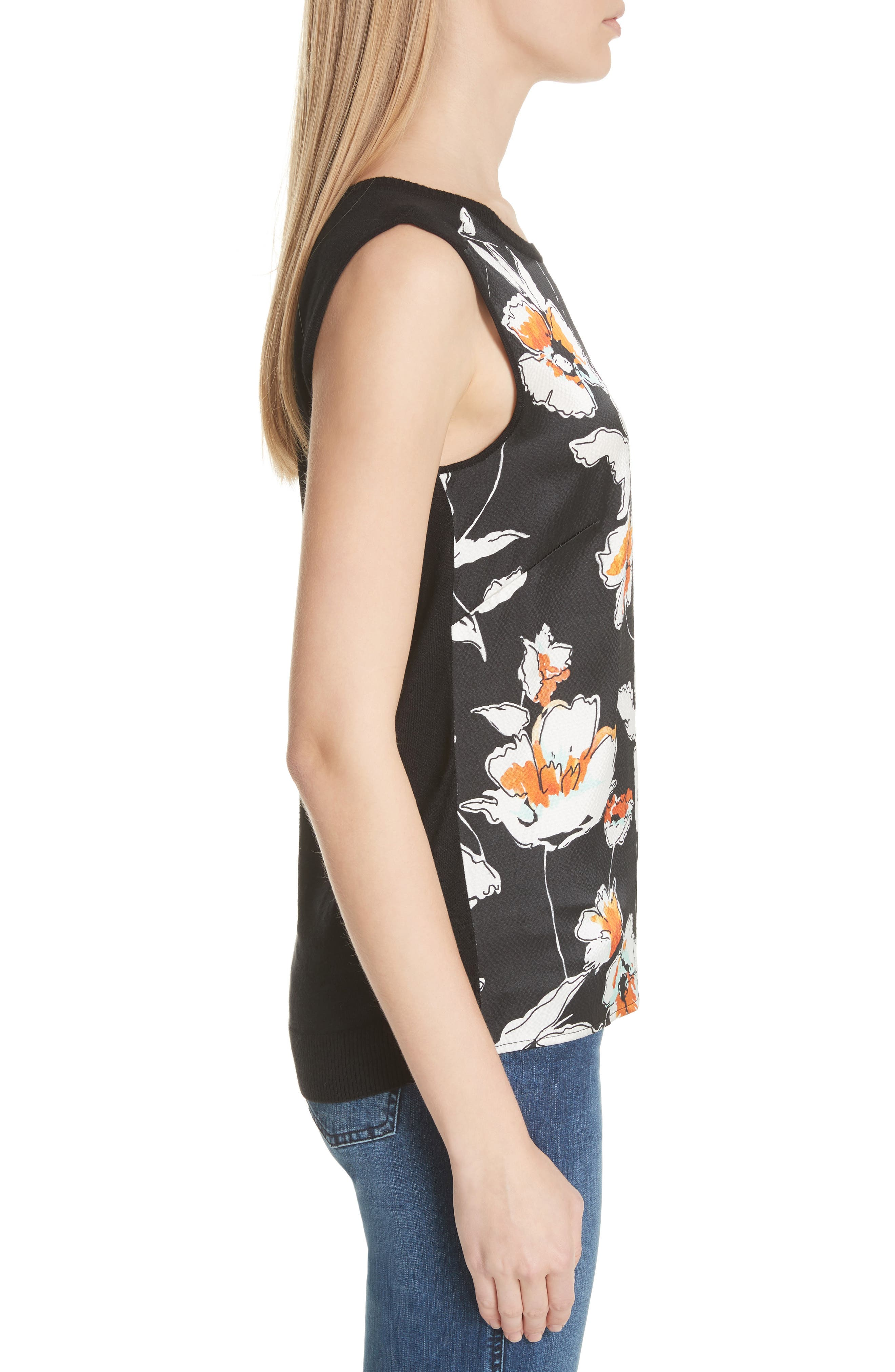 Modern Floral Print Hammered Satin & Jersey Top,                             Alternate thumbnail 3, color,                             CAVIAR MULTI