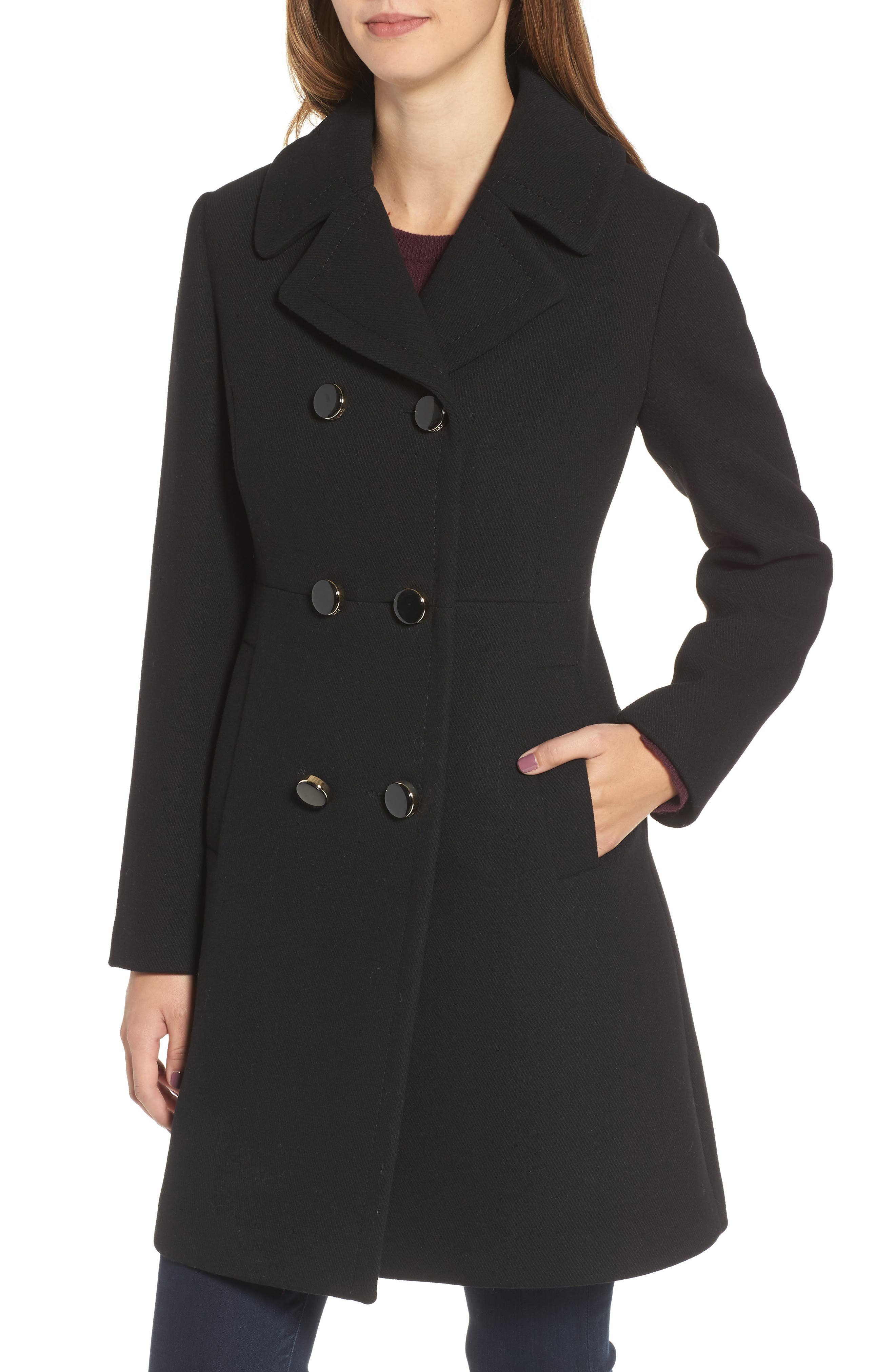 double breasted coat,                             Alternate thumbnail 4, color,                             001