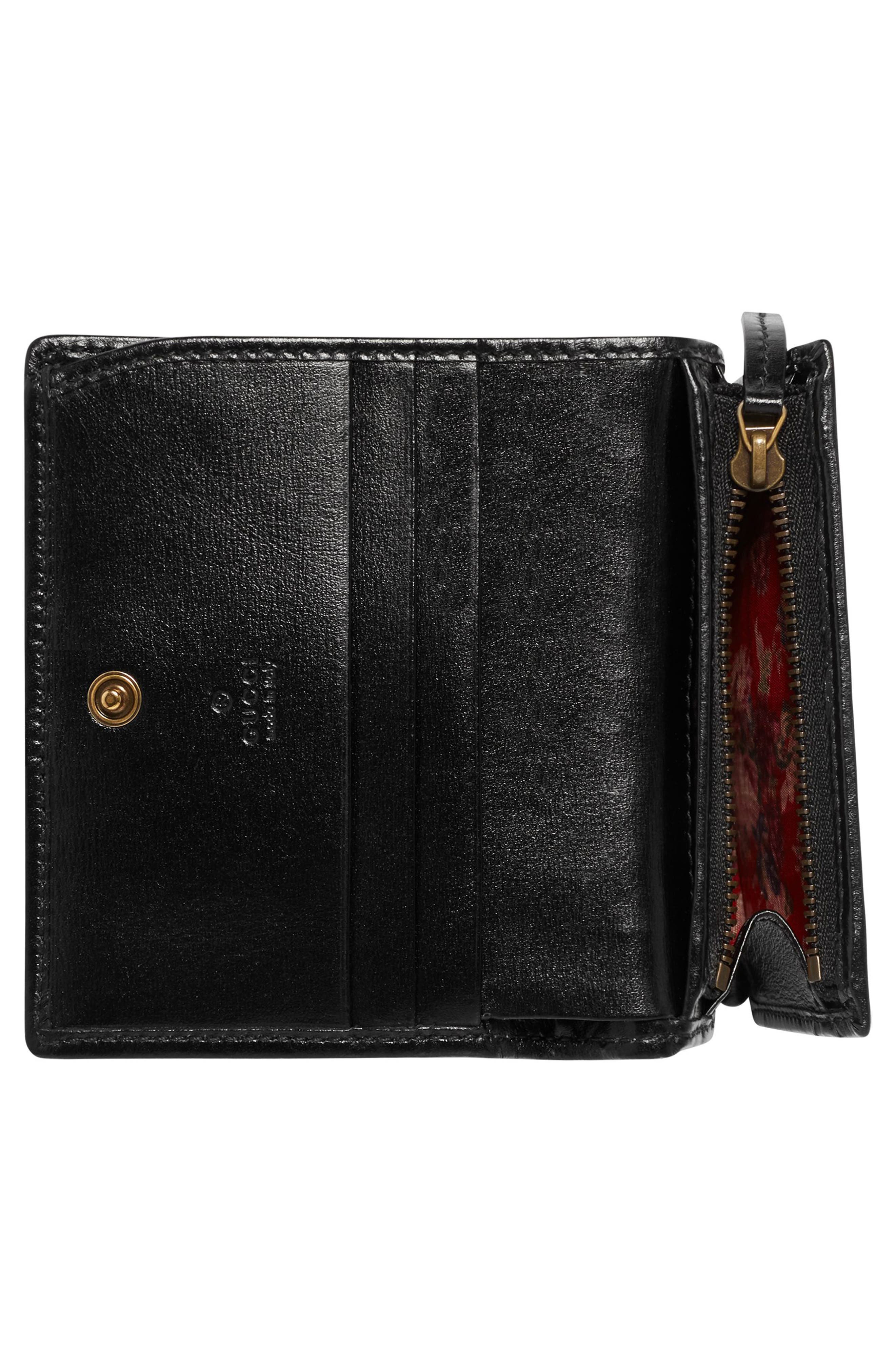 Quilted Leather Card Case,                             Alternate thumbnail 2, color,                             NERO/ VERT/ RED