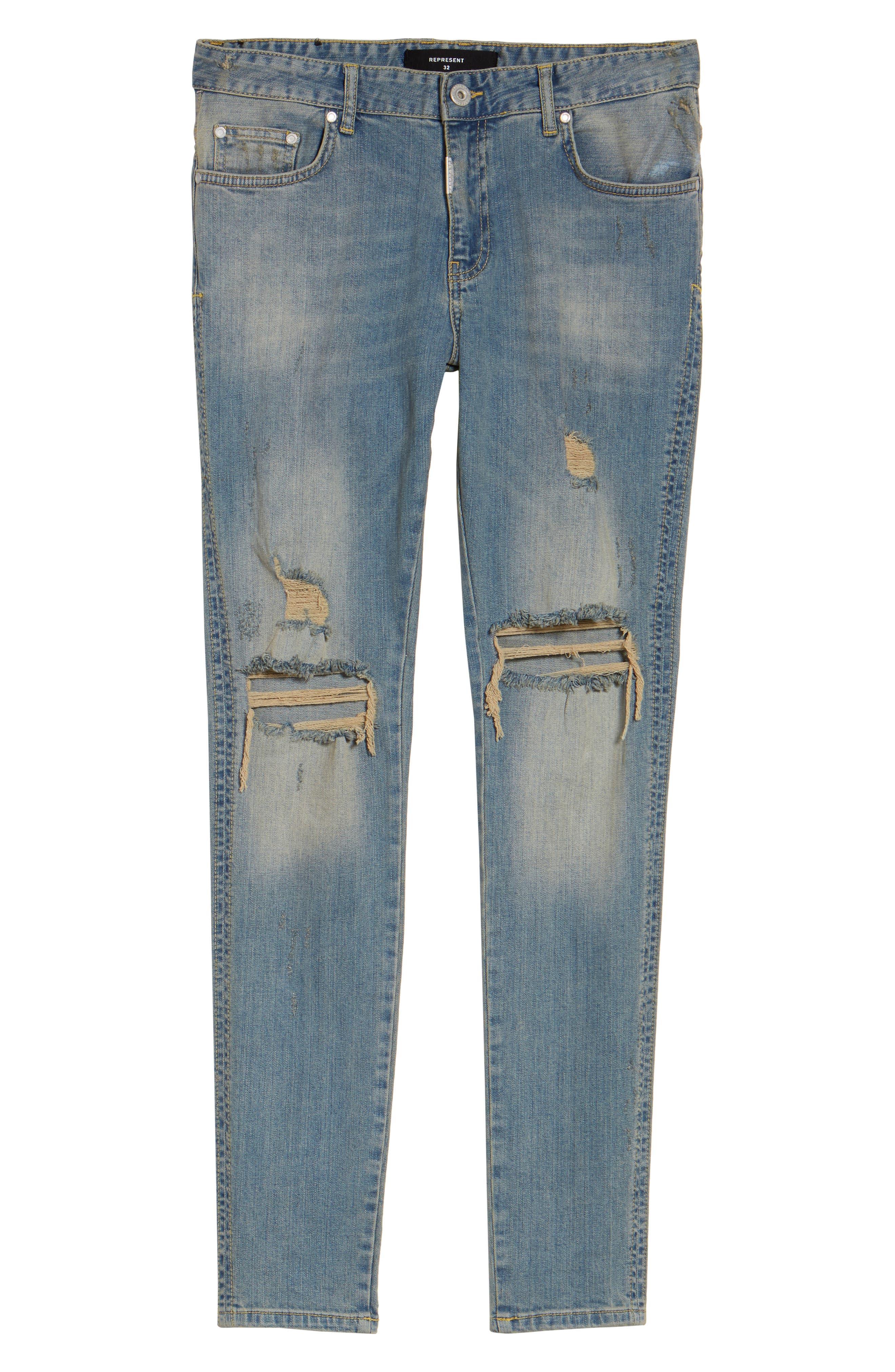 Slim Fit Destroyed Jeans,                             Alternate thumbnail 18, color,