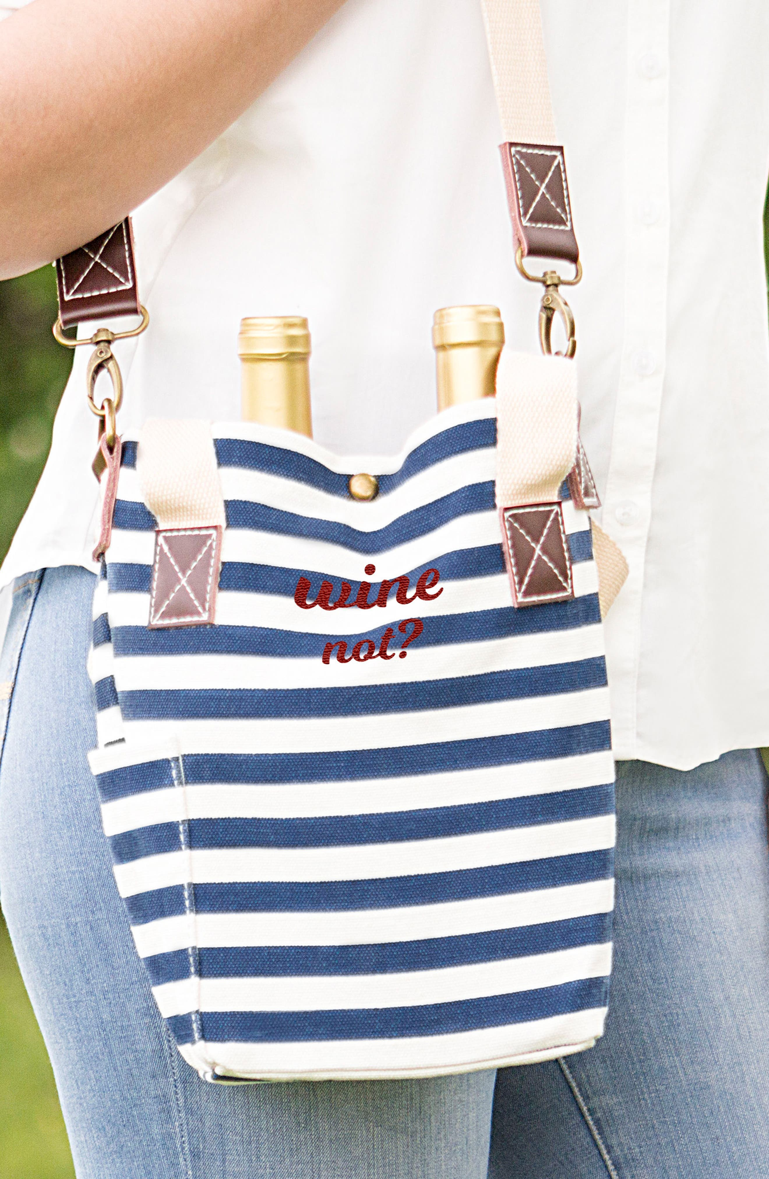 Wine Not? Stripe Wine Tote,                             Alternate thumbnail 2, color,                             400