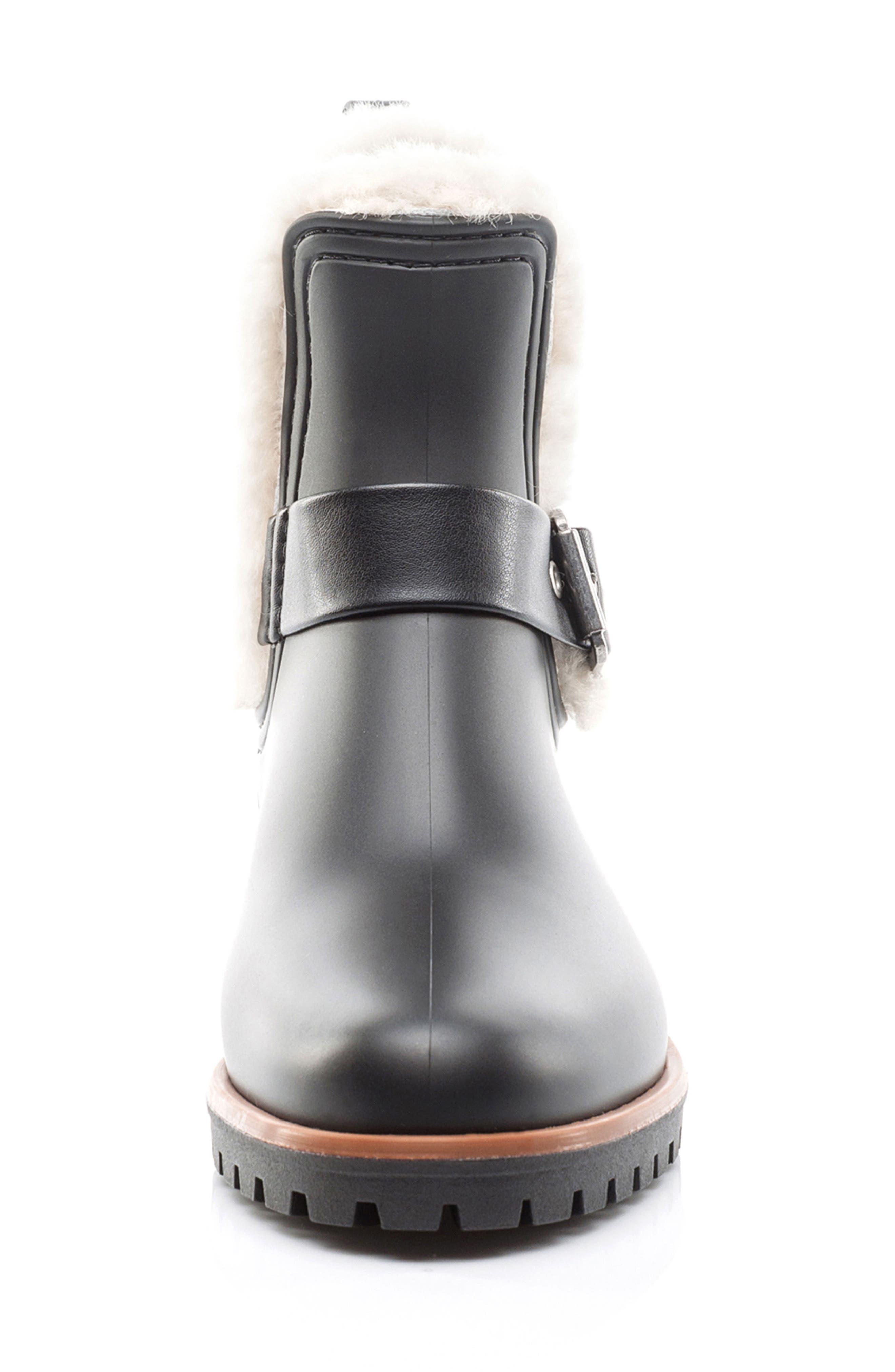 Bernardo Zain Genuine Shearling Trim Rain Boot,                             Alternate thumbnail 4, color,                             001