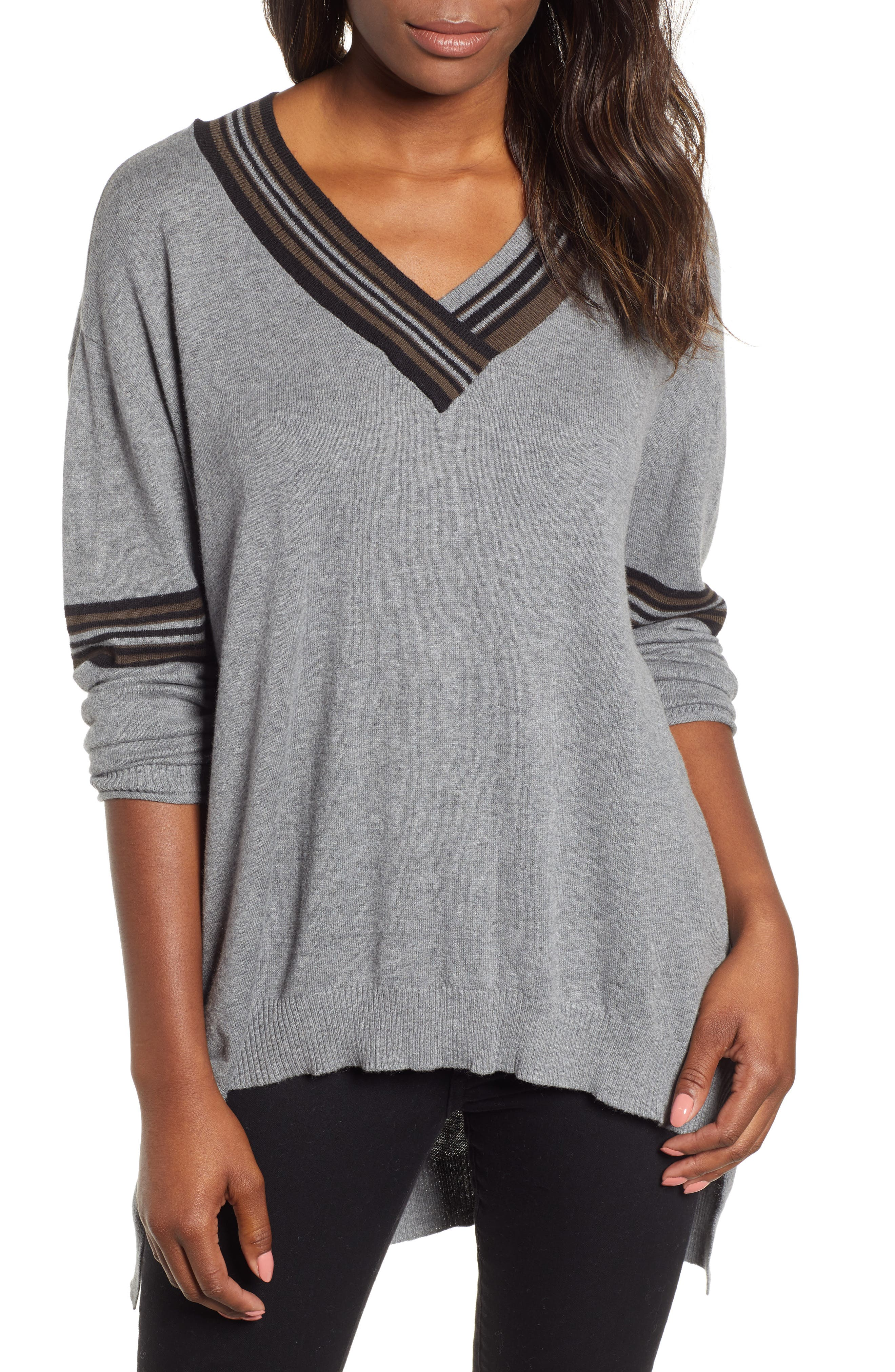 High/Low Cotton Blend Sweater,                             Main thumbnail 1, color,                             HG- HEATHER GREY