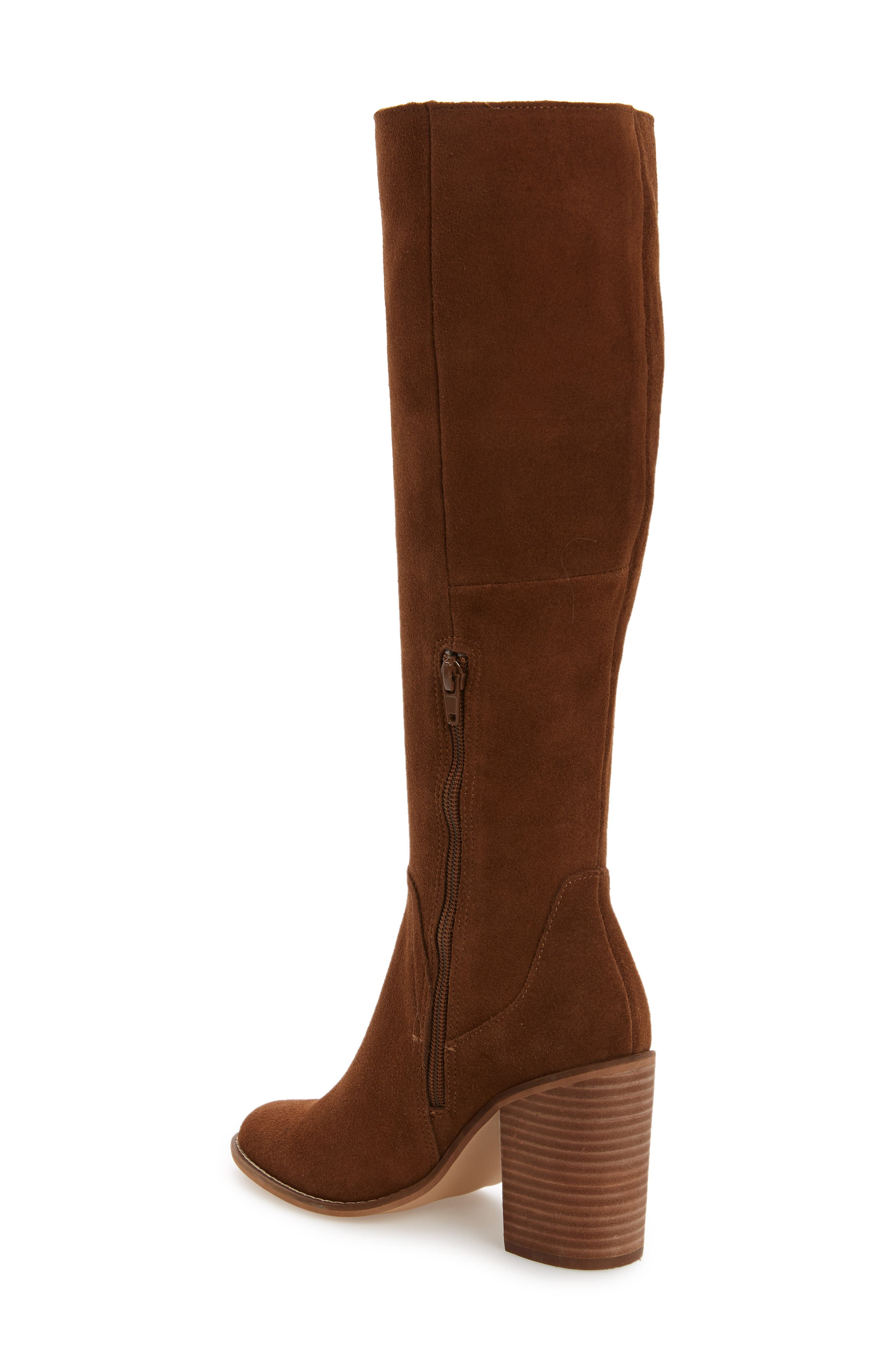 Roxana Knee High Boot,                             Alternate thumbnail 2, color,                             CHESTNUT SUEDE