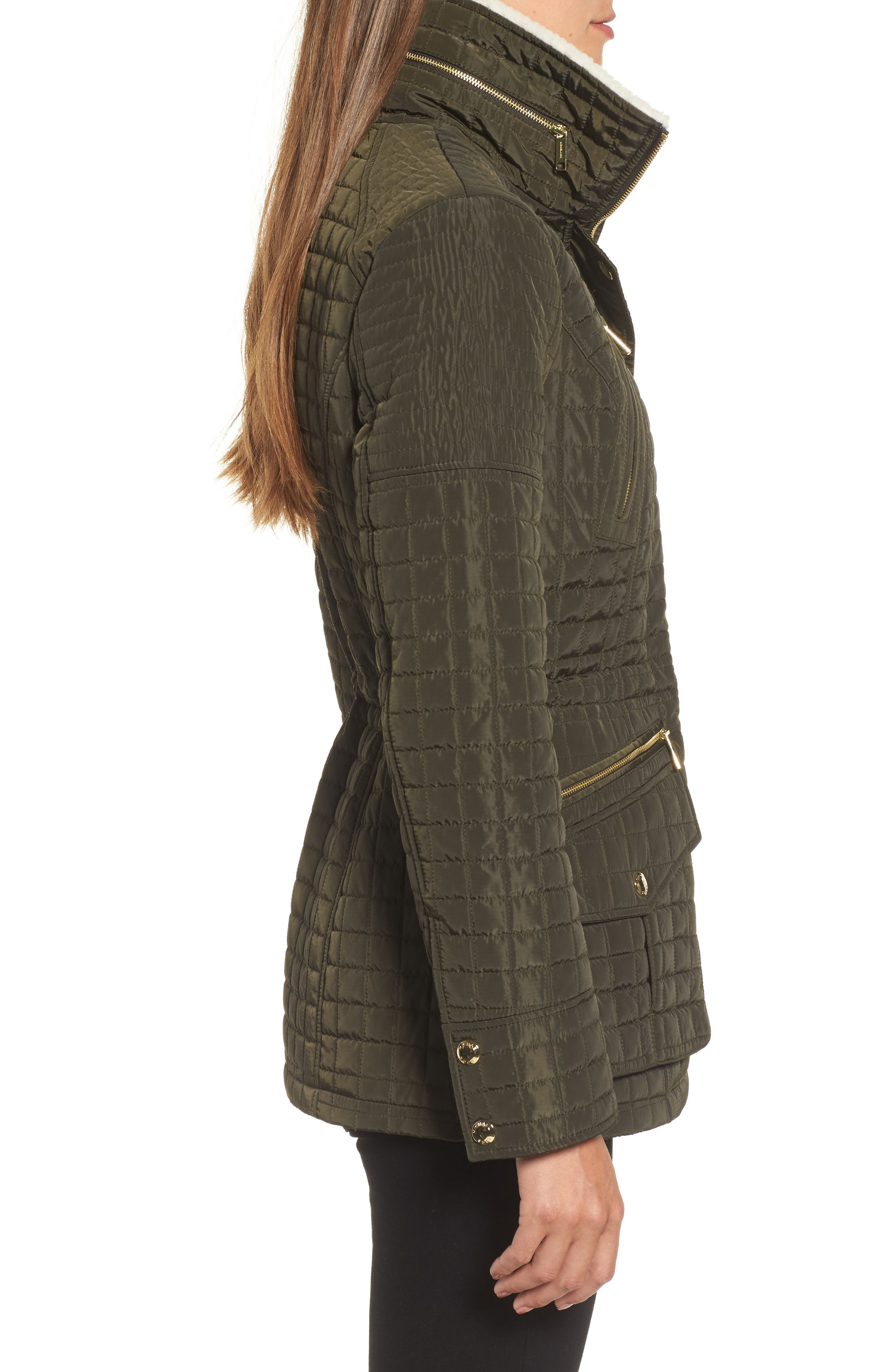 Water Resistant Quilted Anorak with Faux Shearling Trim,                             Alternate thumbnail 3, color,                             377