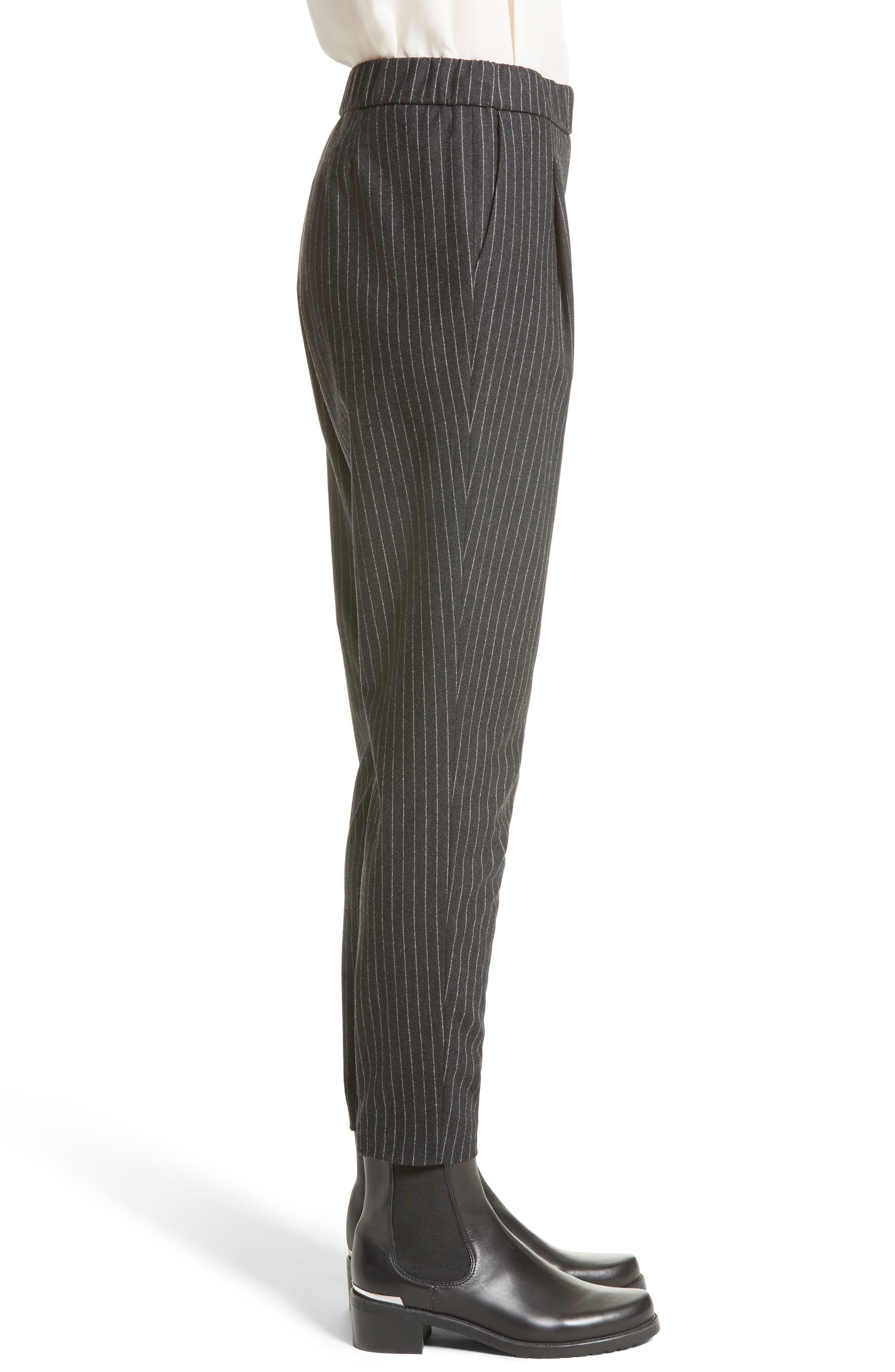 Pinstripe Wool Flannel Pants,                             Alternate thumbnail 3, color,                             021