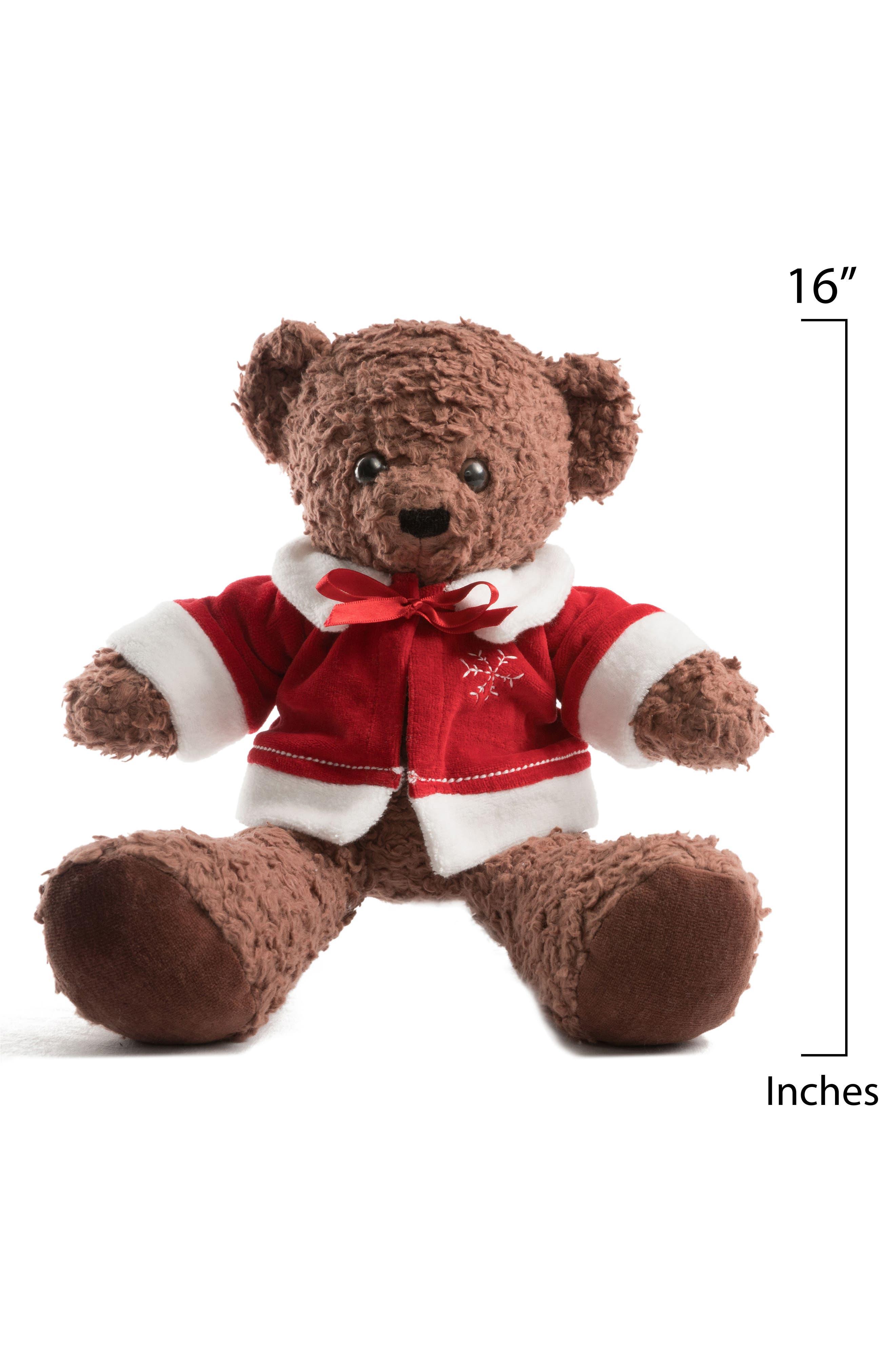 Medium Stuffed Bear with Holiday Jacket,                             Alternate thumbnail 5, color,