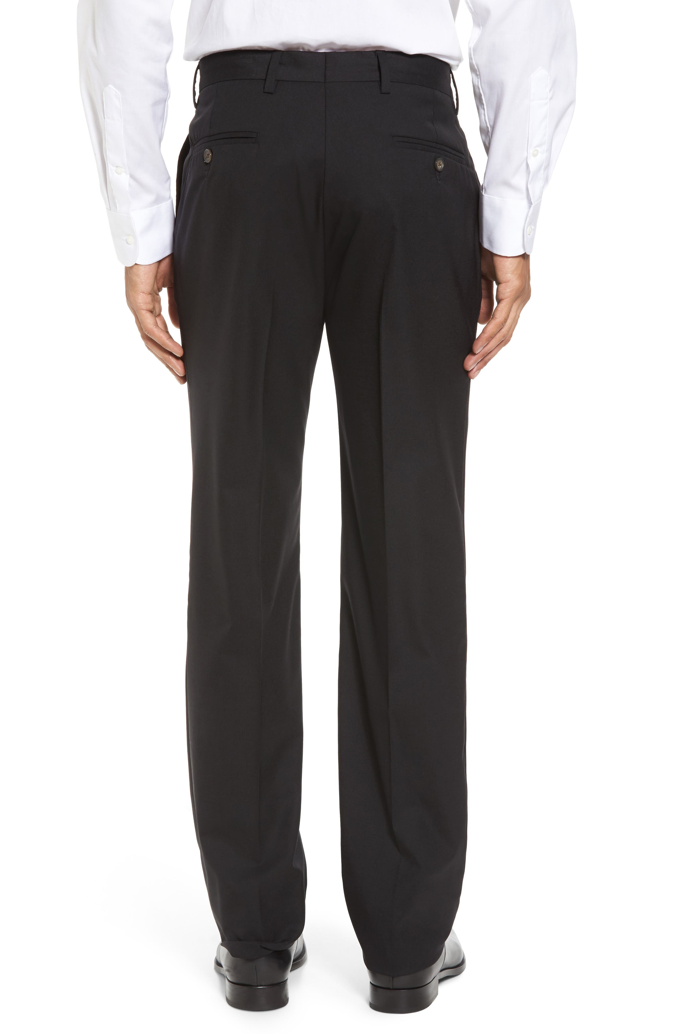 BERLE,                             Flat Front Stretch Solid Wool Trousers,                             Alternate thumbnail 3, color,                             001