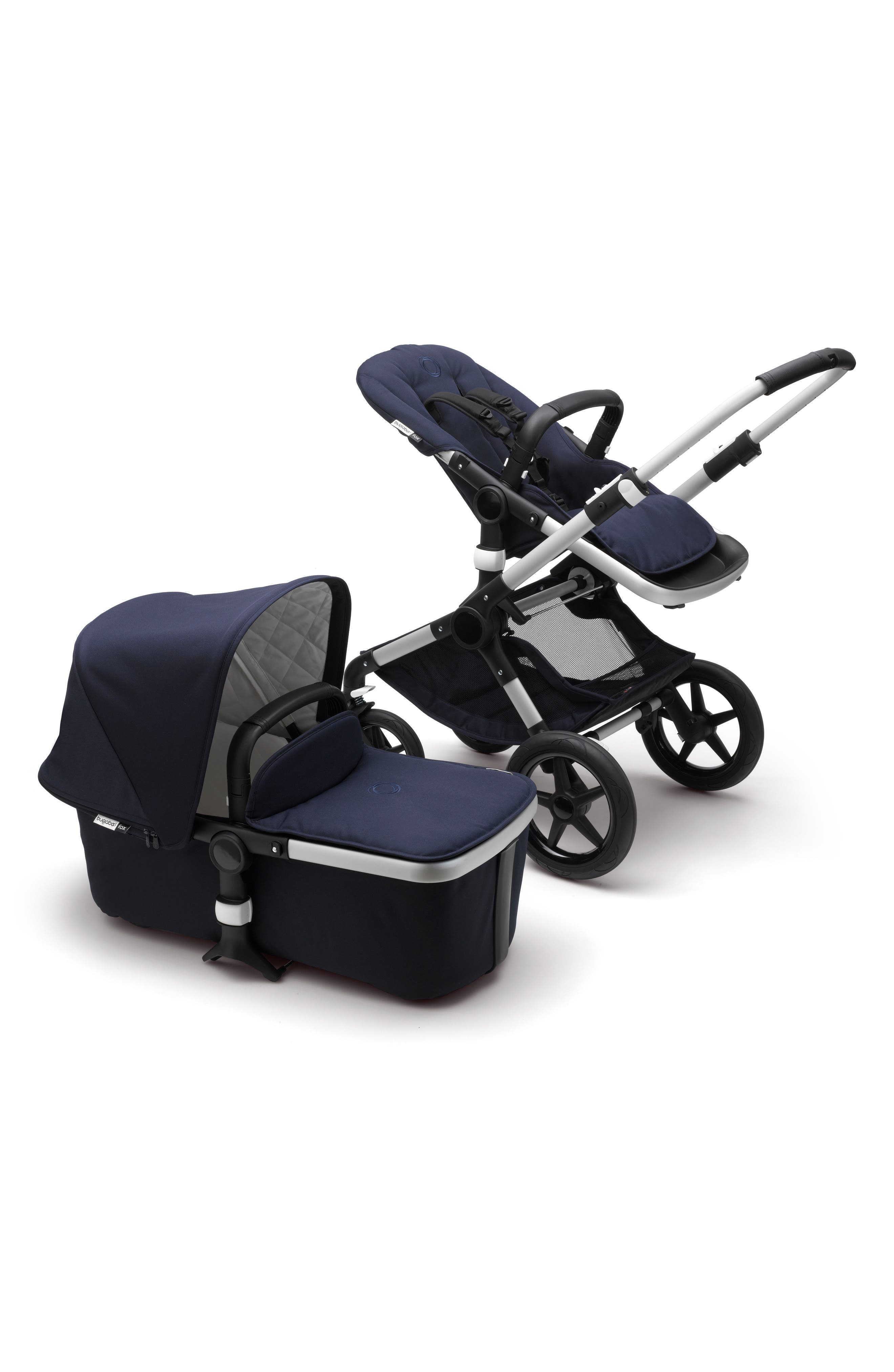 BUGABOO,                             Fox Classic Complete Stroller with Bassinet,                             Main thumbnail 1, color,                             NAVY/ ALUMINUM