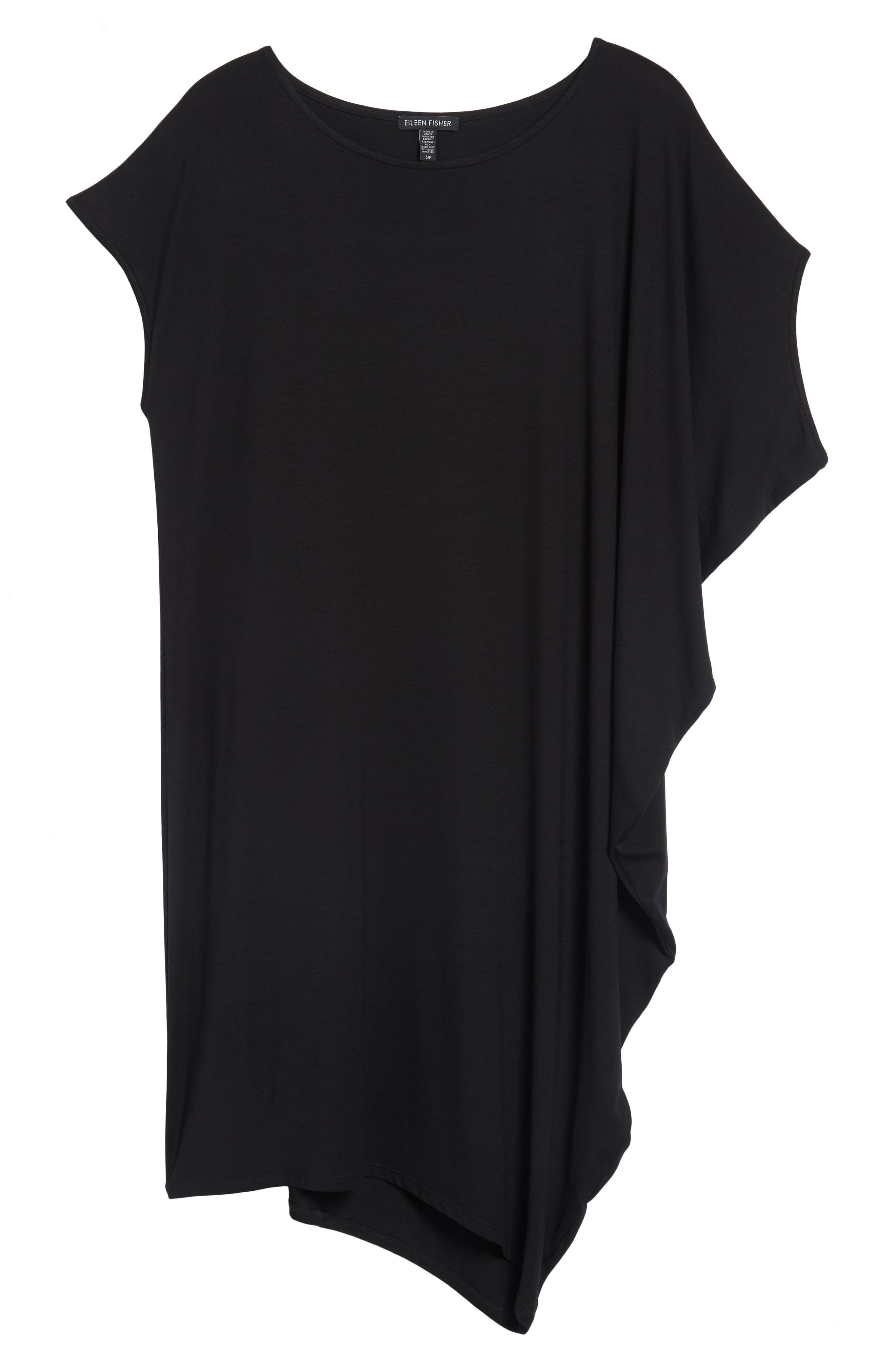 Asymmetrical Jersey Shift Dress,                             Alternate thumbnail 6, color,                             001