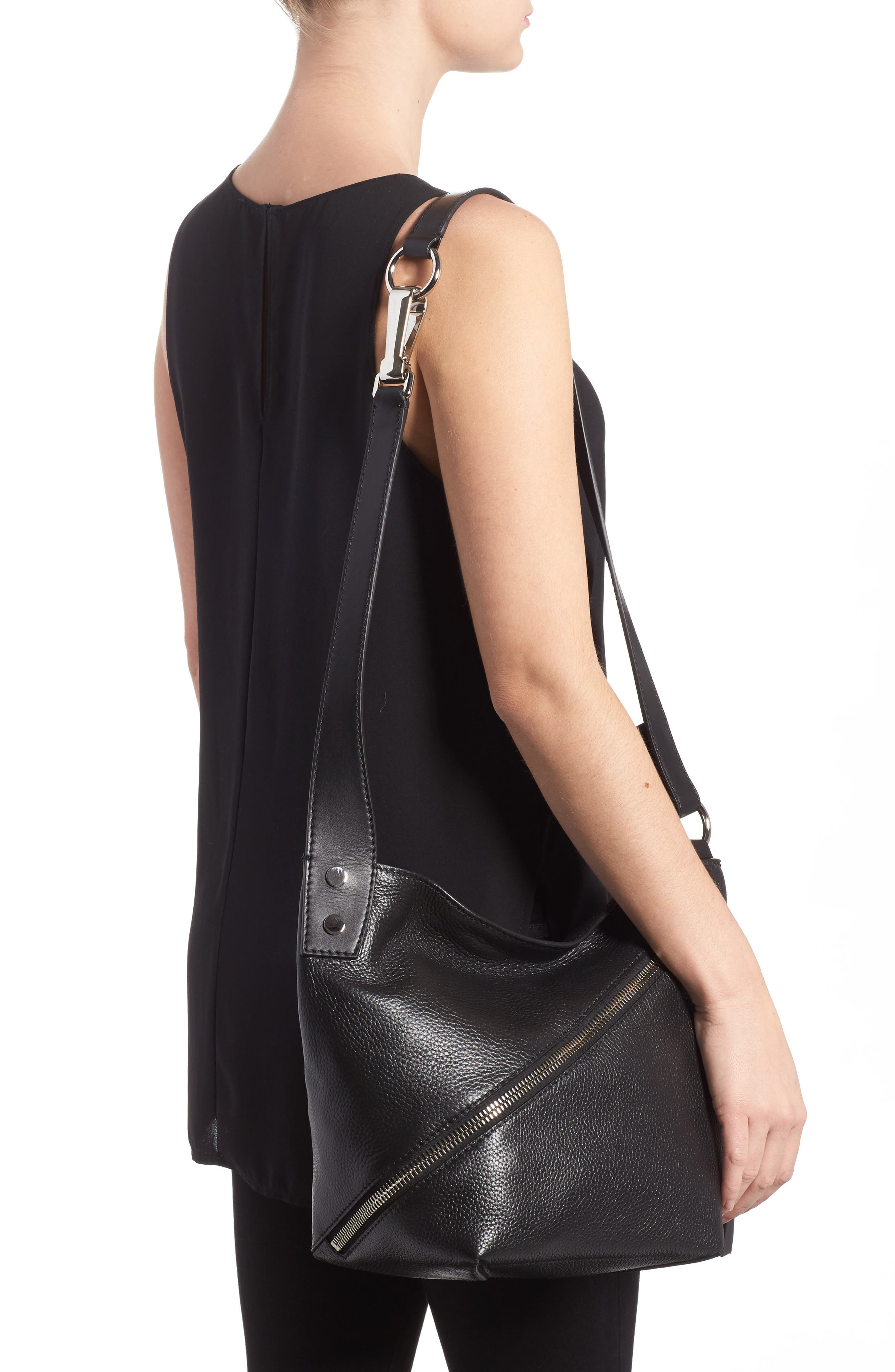 Small Leather Hobo Bag,                             Alternate thumbnail 2, color,                             001