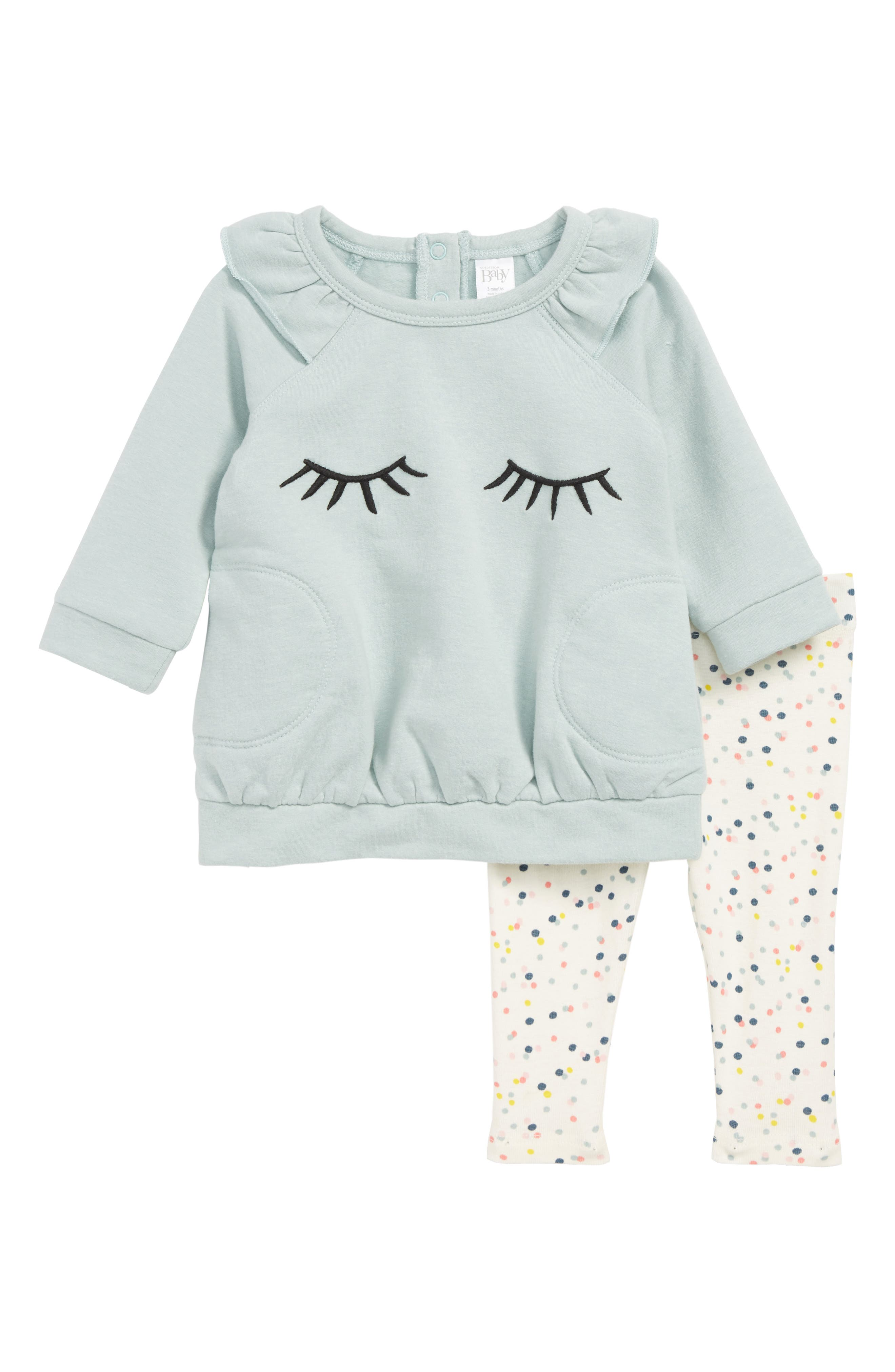 Ruffle Sweater & Leggings Set,                         Main,                         color, TEAL TIDE- IVORY EYELASHES
