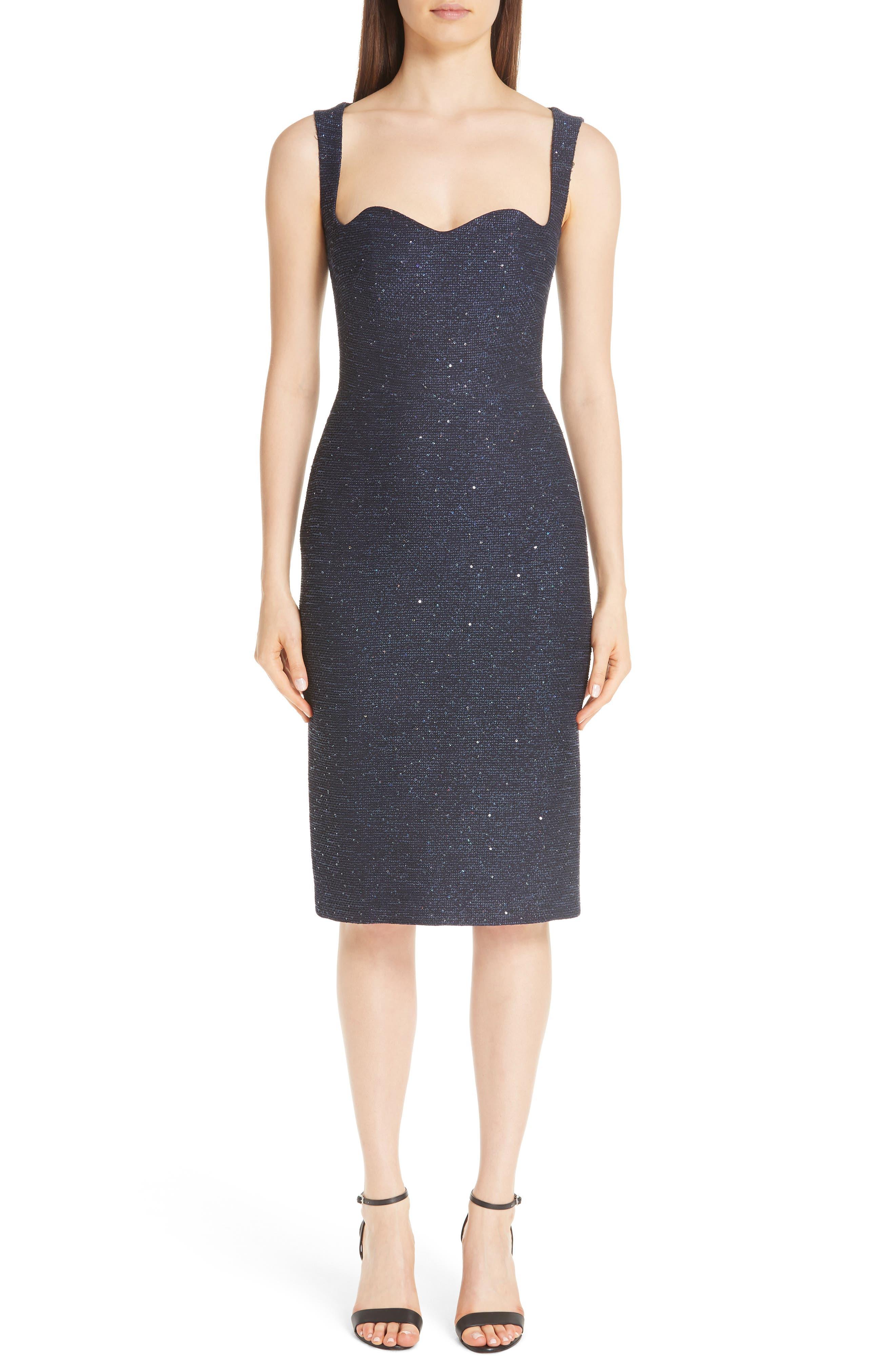 Lela Rose Sequin Tweed Sheath Dress, Blue