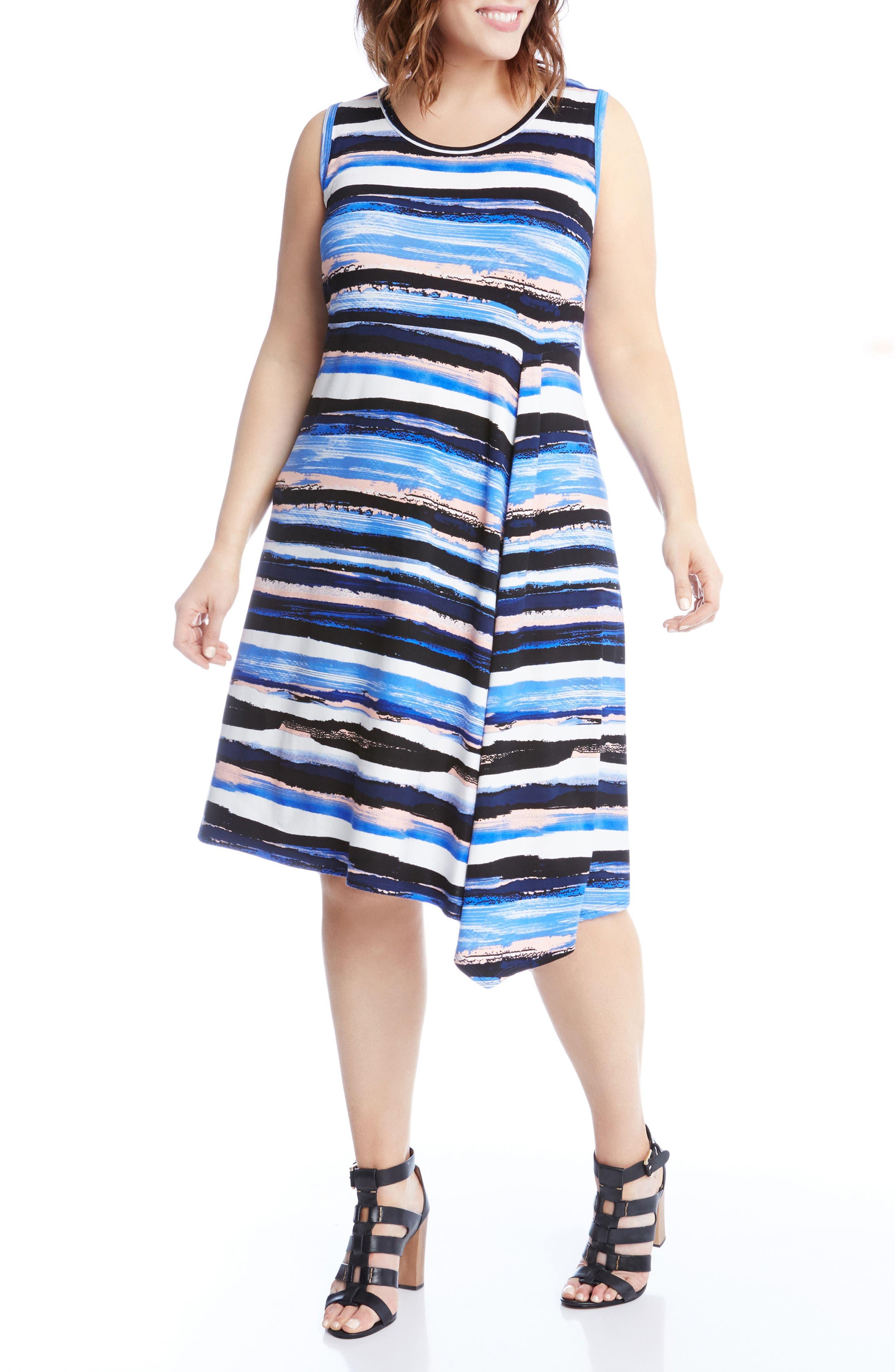 Painted Stripe A-Line Dress,                             Main thumbnail 1, color,                             400