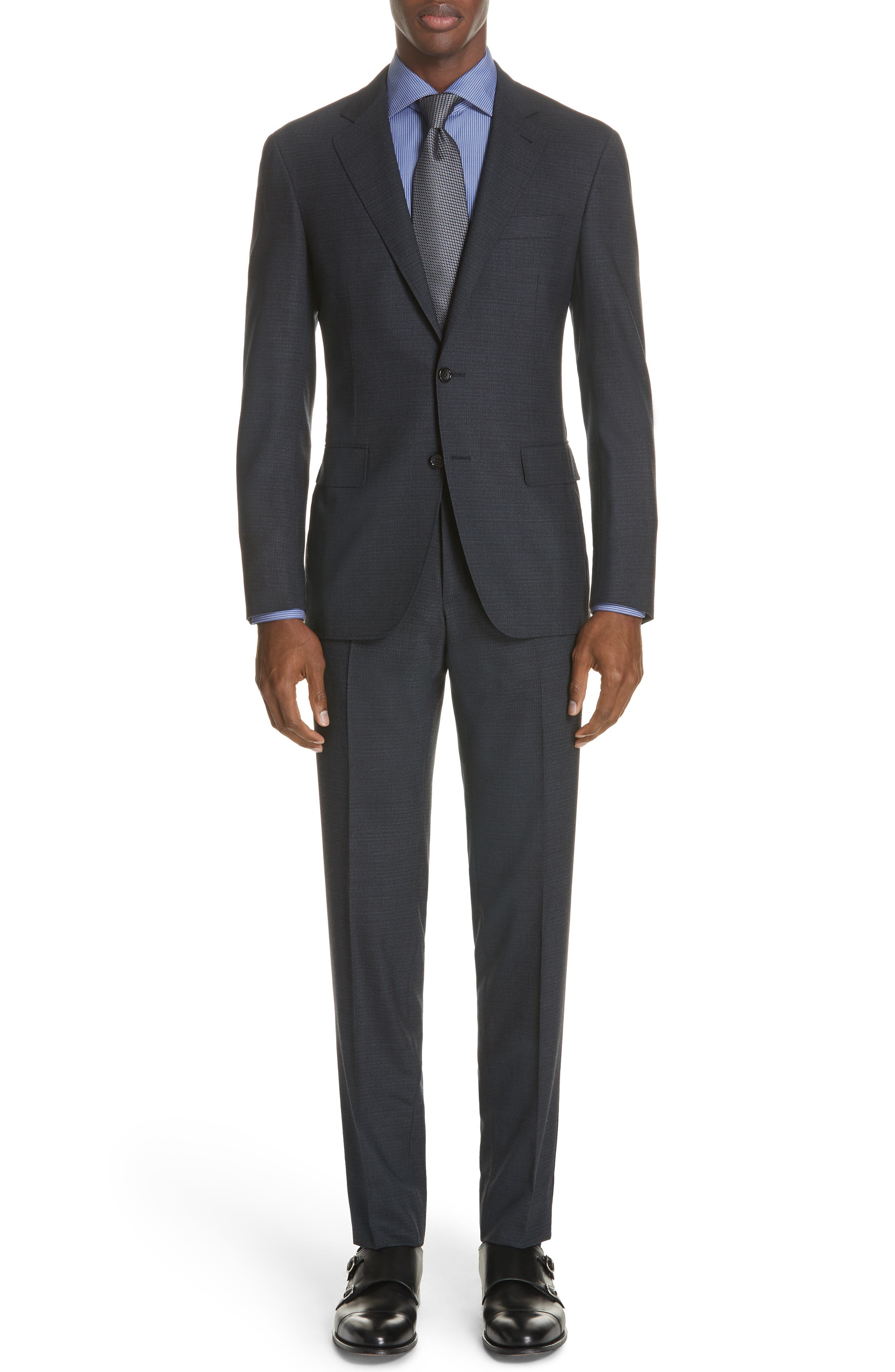 CANALI Classic Fit Stretch Check Wool Suit, Main, color, 400