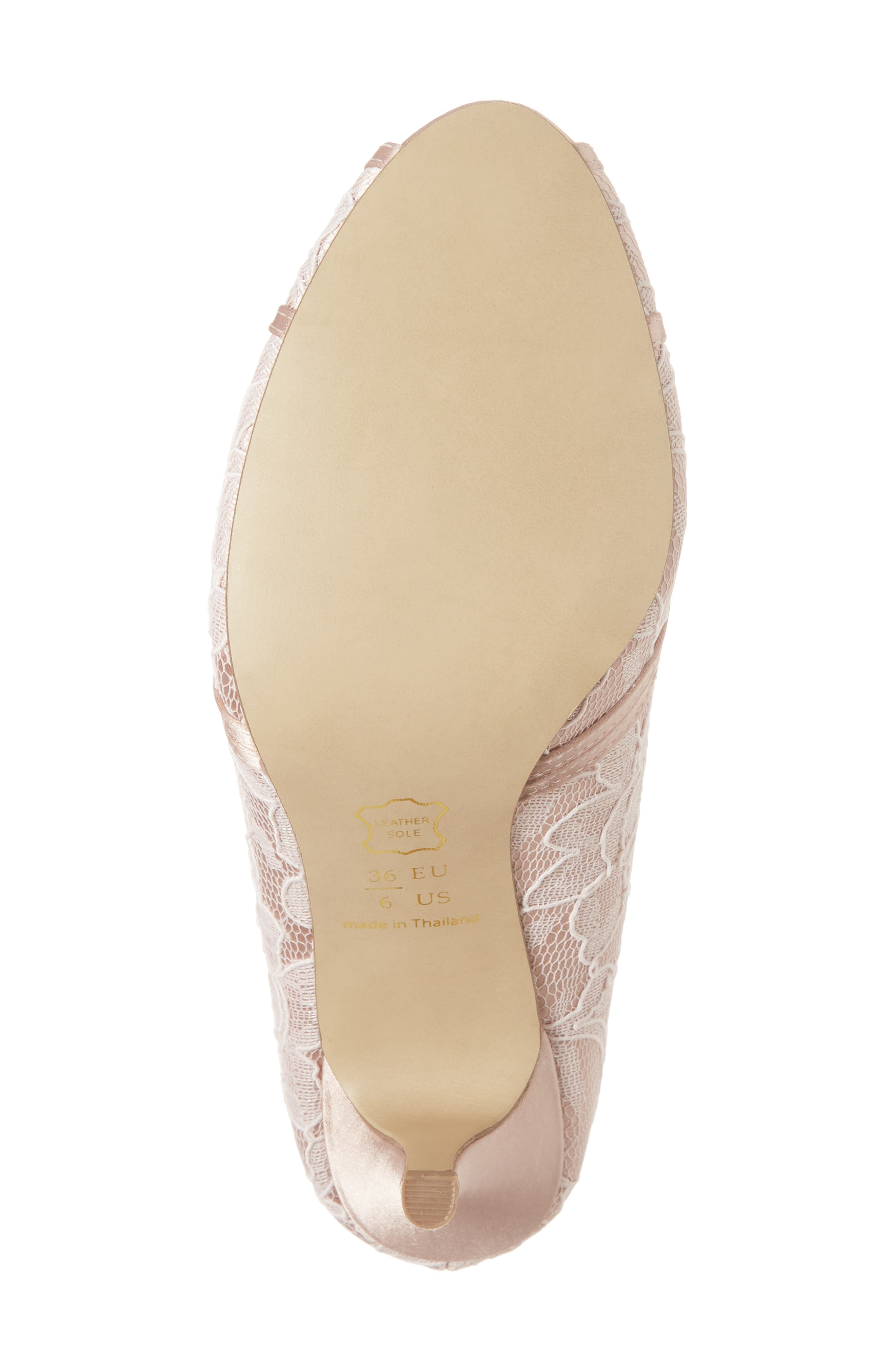 Cherie Embroidered Peep Toe Pump,                             Alternate thumbnail 6, color,                             BLUSH SATIN