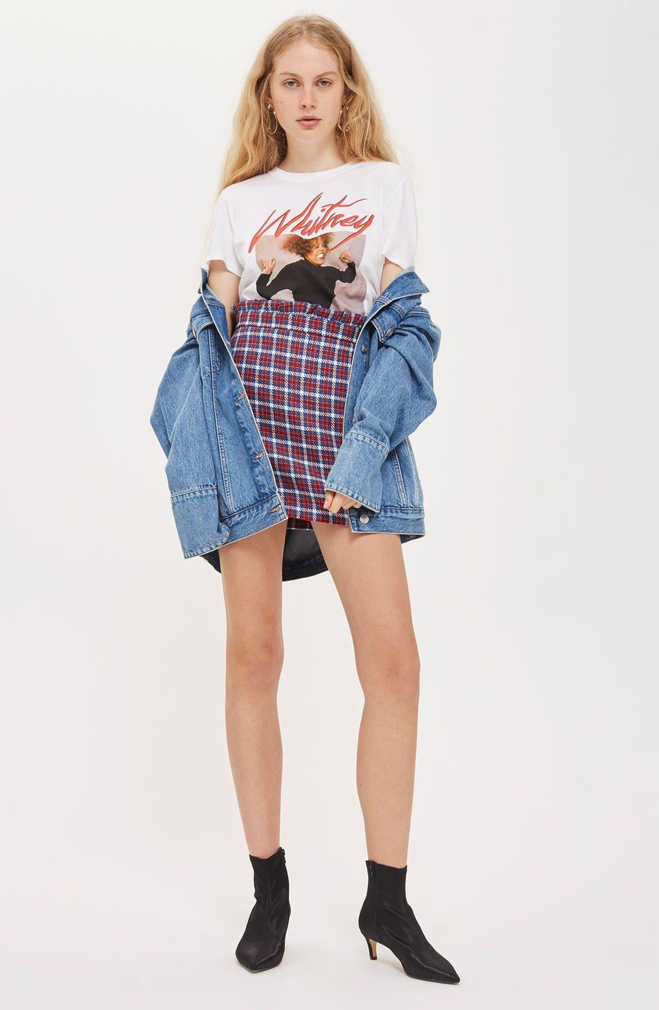Check Frill Waist Miniskirt,                             Alternate thumbnail 4, color,                             400